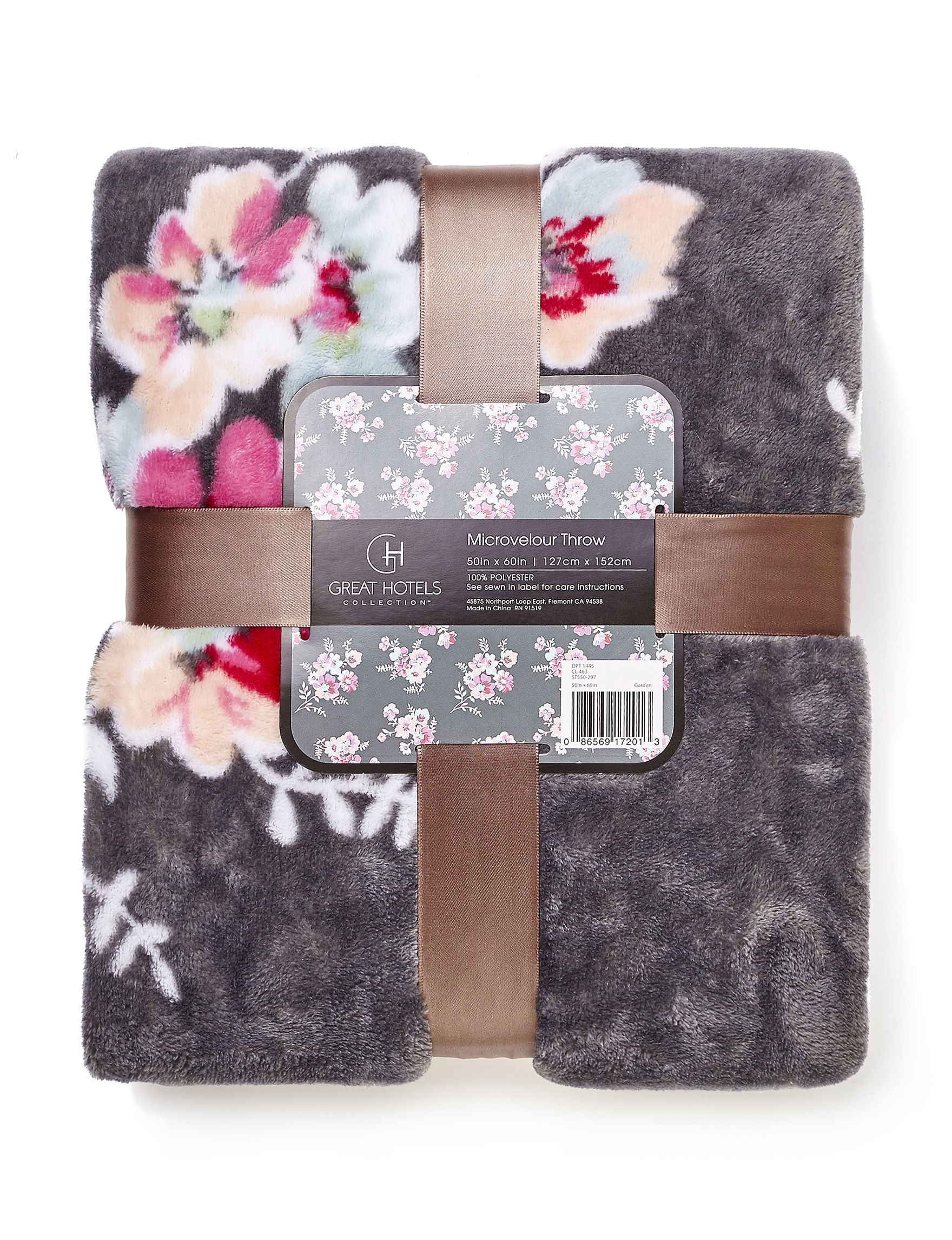 Great Hotels Collection Grey Floral Blankets & Throws