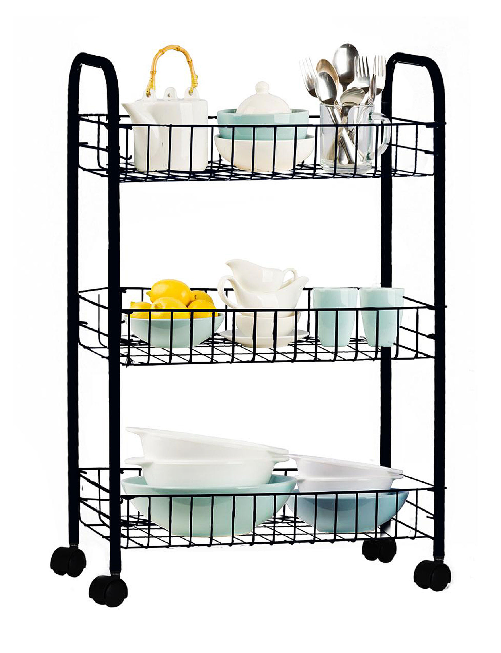 Farberware Black 3 Tier Rolling Storage Cart Closeout Stage Stores