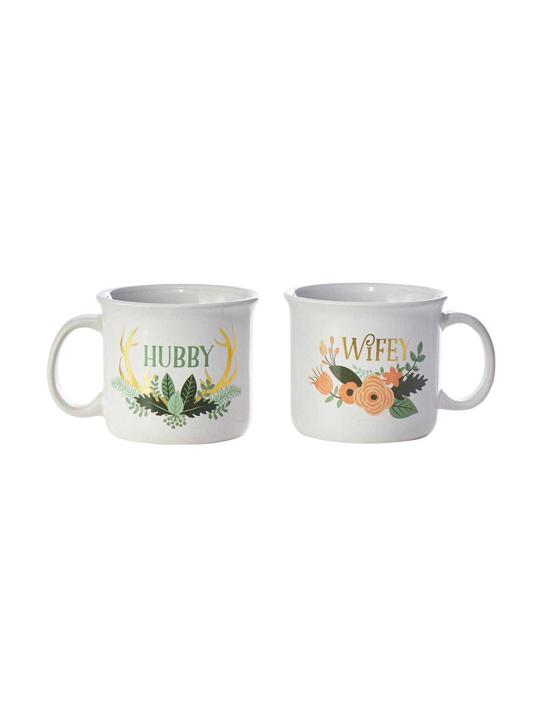 TMD Holdings White Floral Mugs Drinkware