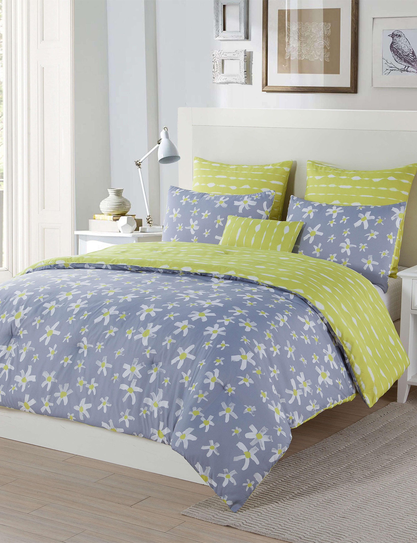 Kensie Yellow / Blue Comforters & Comforter Sets