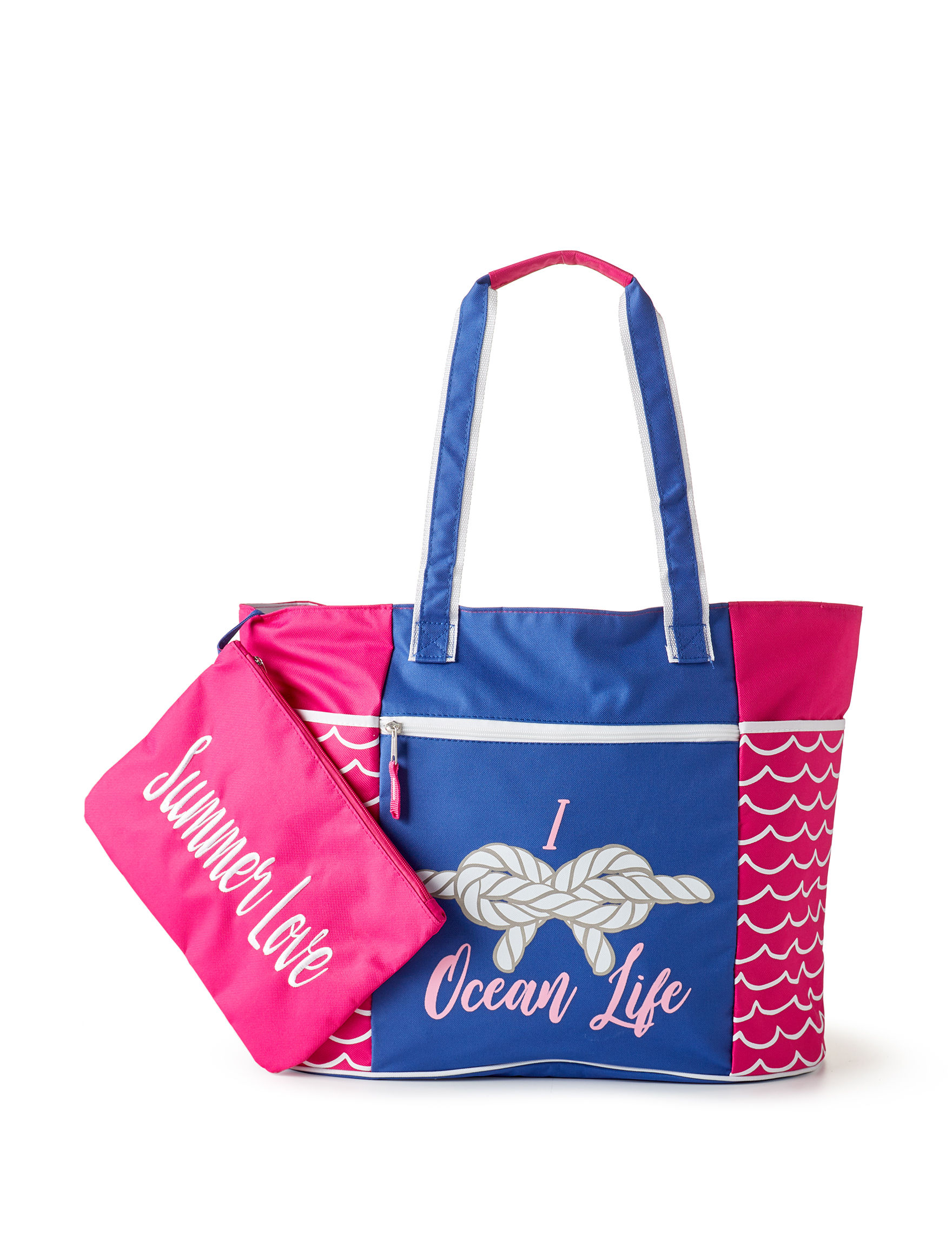 Life is a Beach Pink / Blue / White Travel Totes