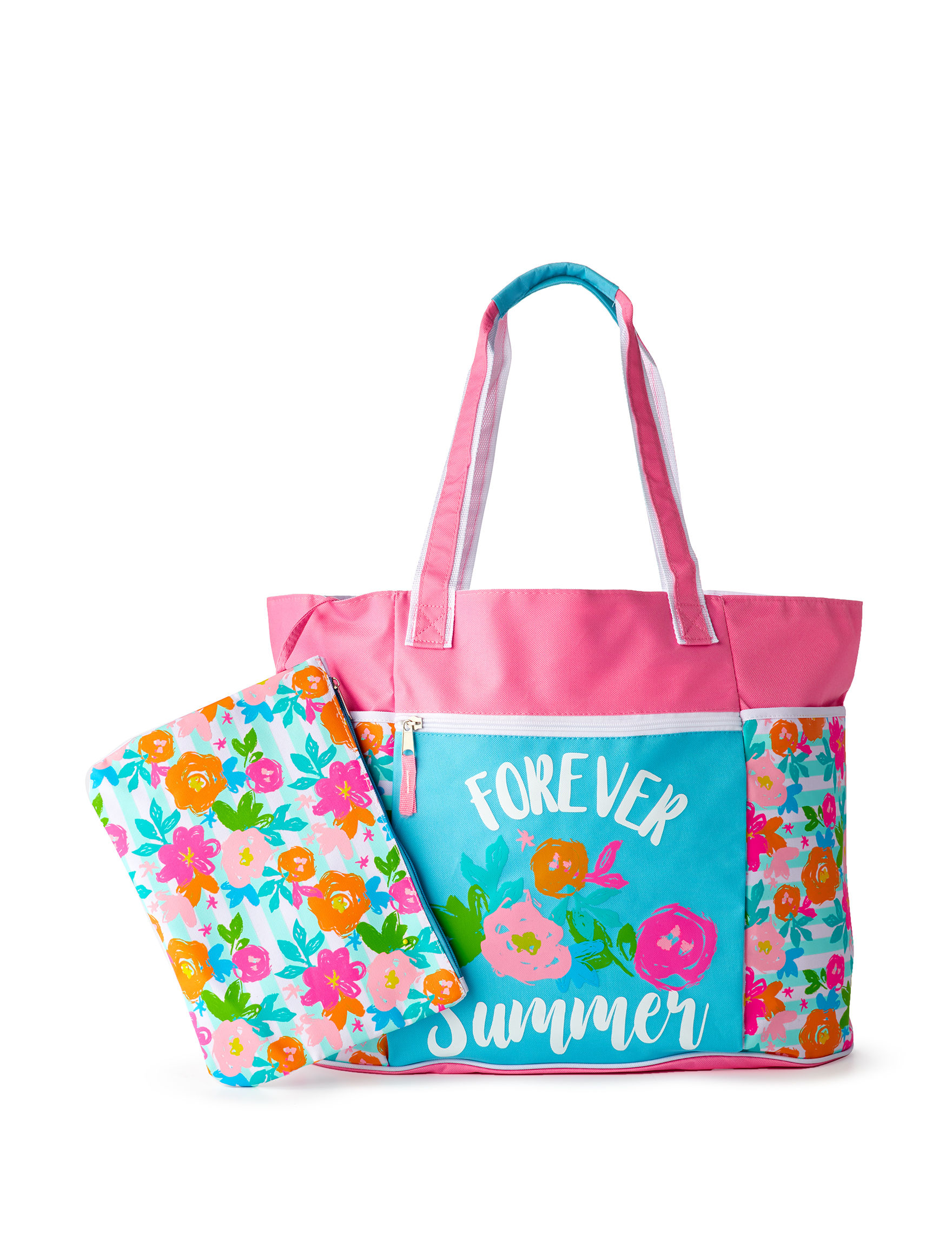 Life is a Beach Pink Floral Travel Totes