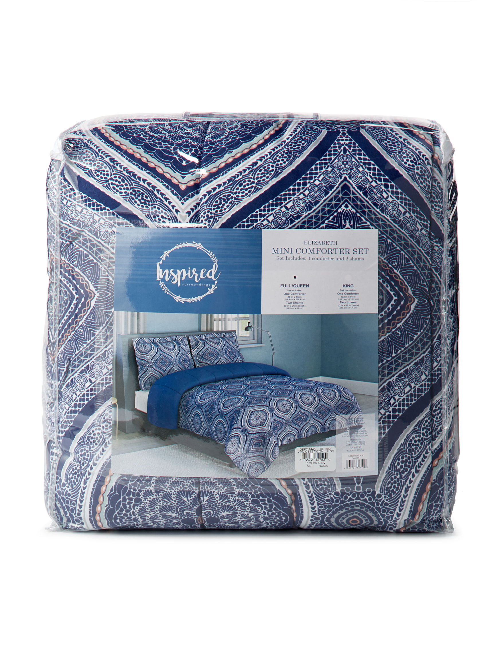 Inspired Surroundings Navy Multi Comforters & Comforter Sets