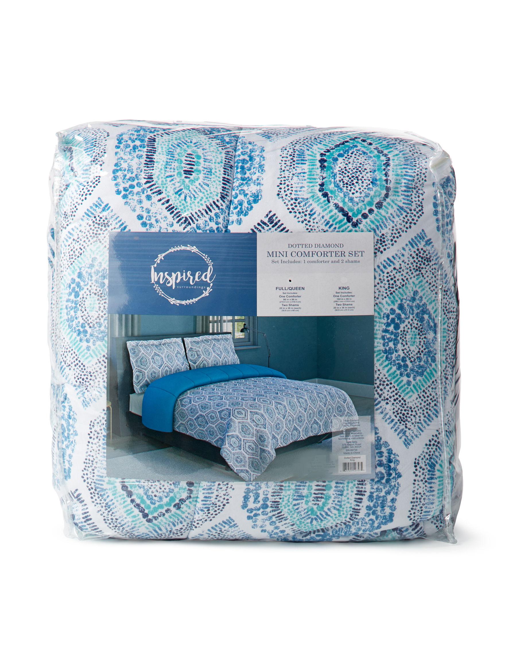 Inspired Surroundings Aqua Multi Comforters & Comforter Sets