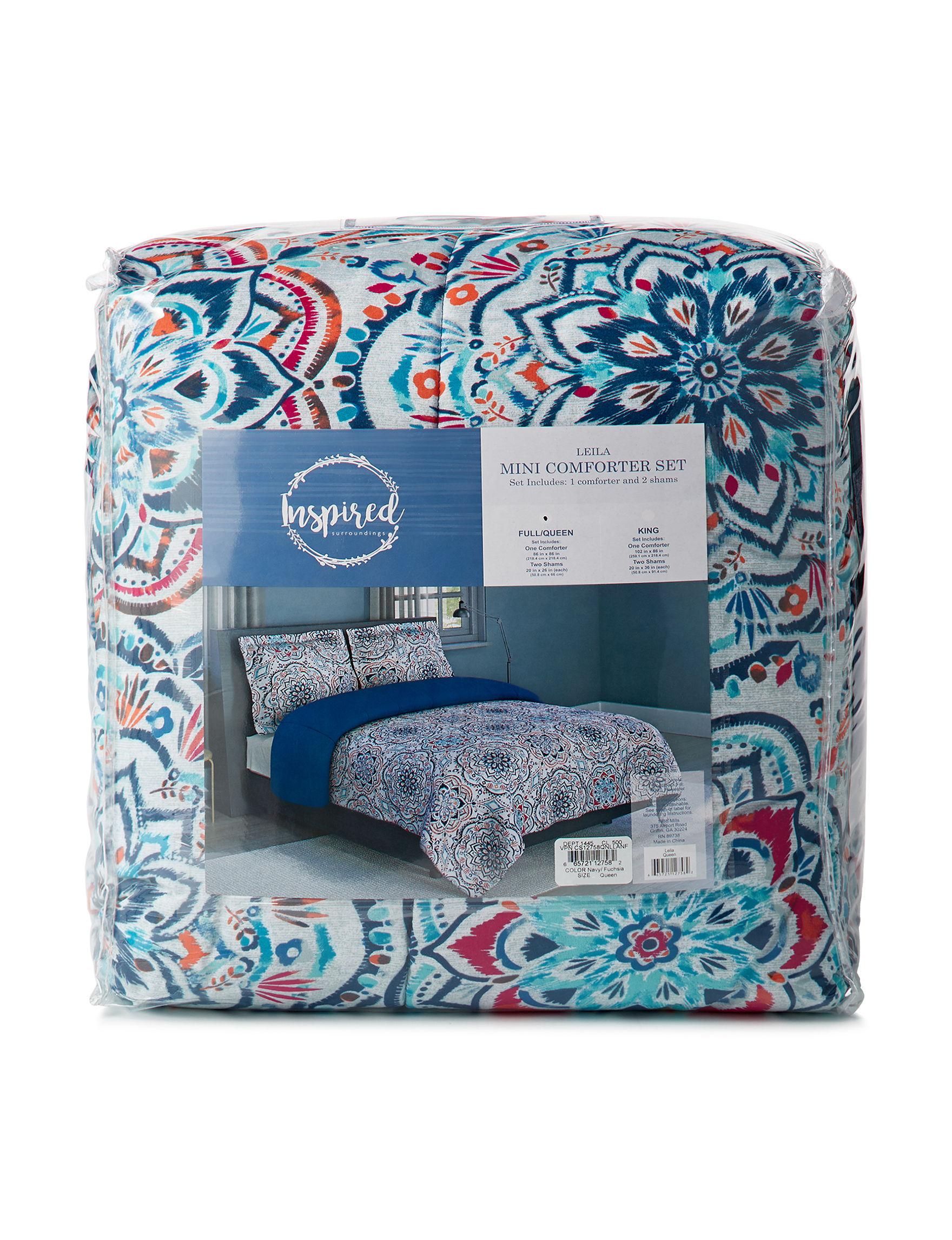 Inspired Surroundings Navy Multi Comforters & Comforter Sets