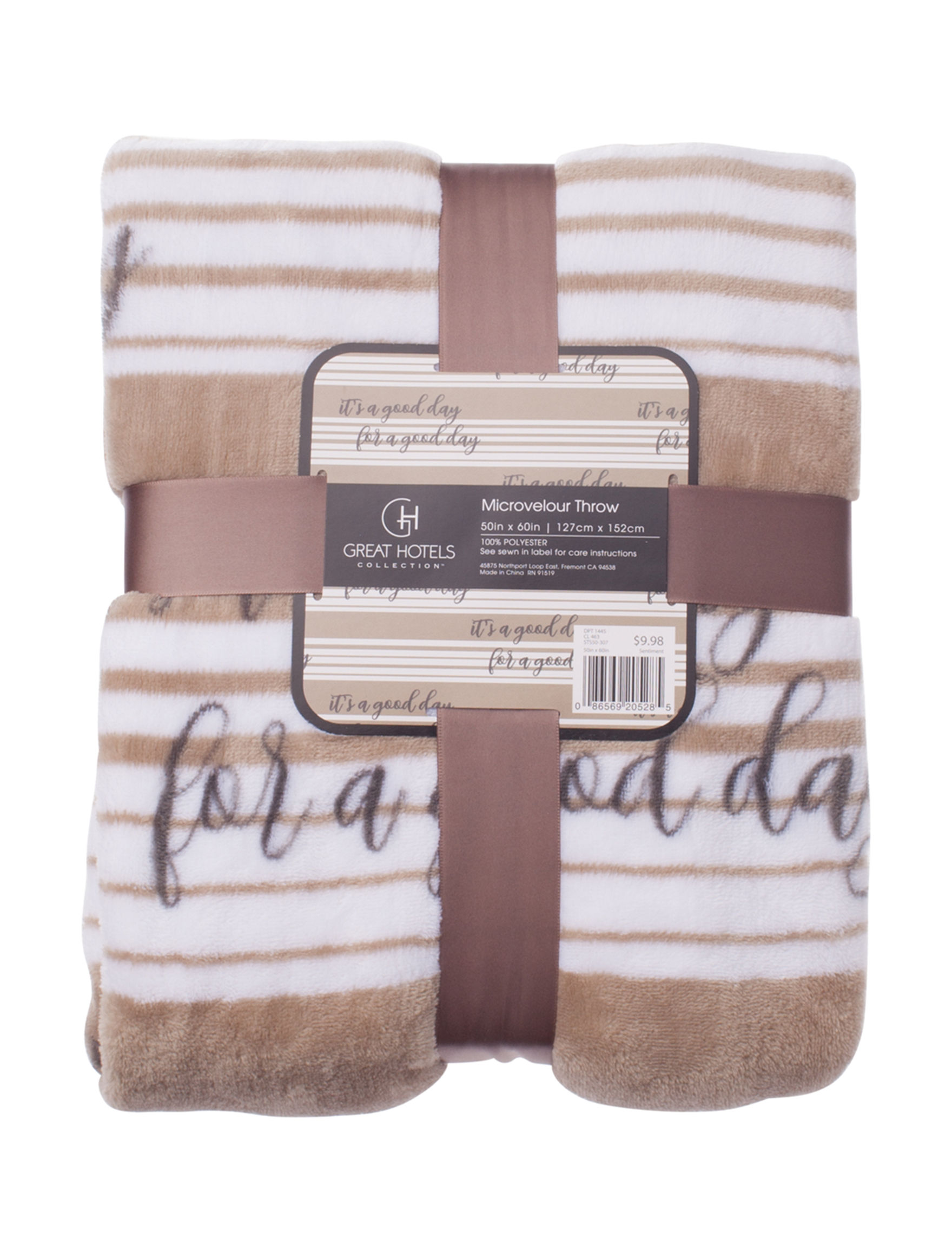 Great Hotels Collection Beige / White Blankets & Throws
