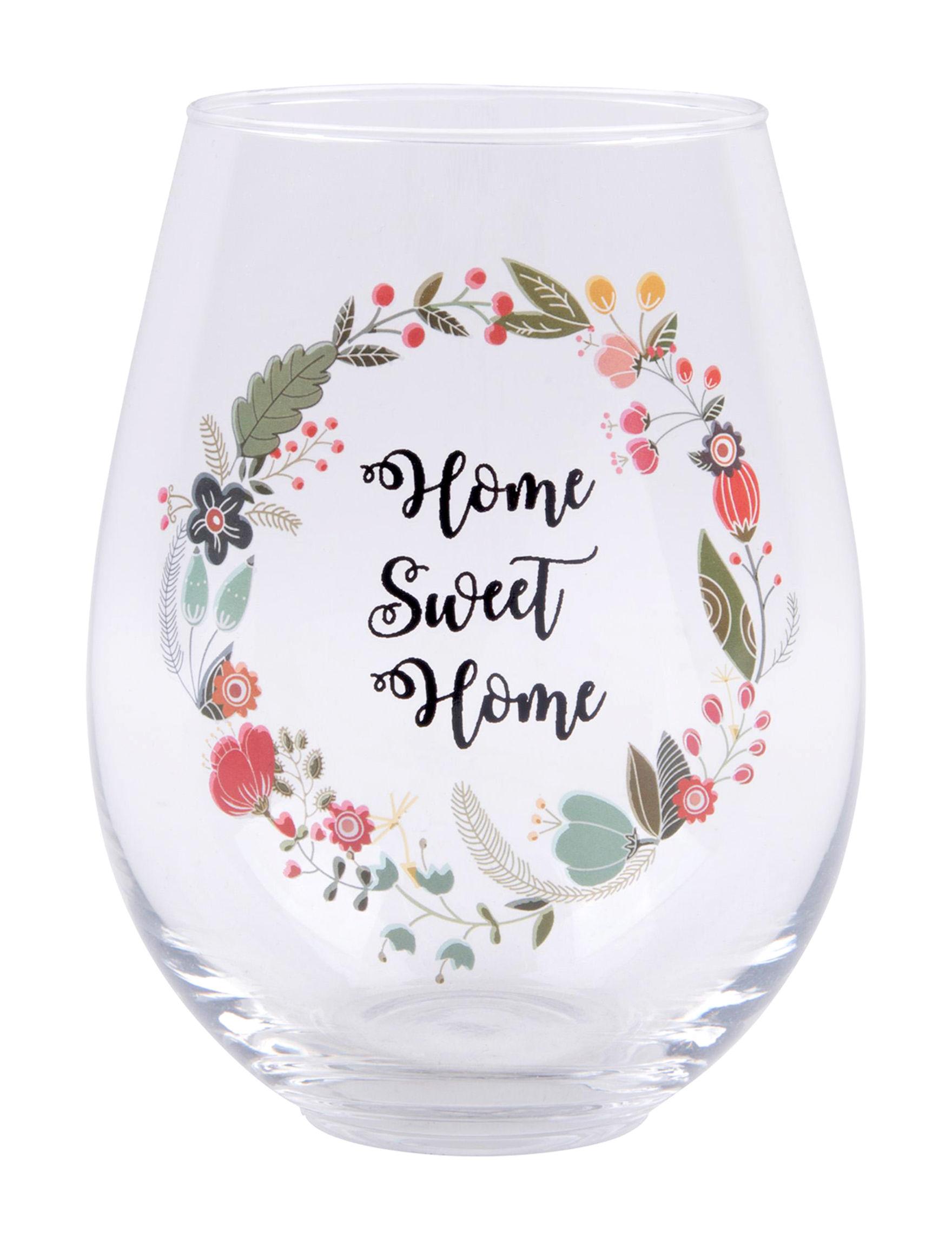 Home Essentials Floral Wine Glasses Drinkware