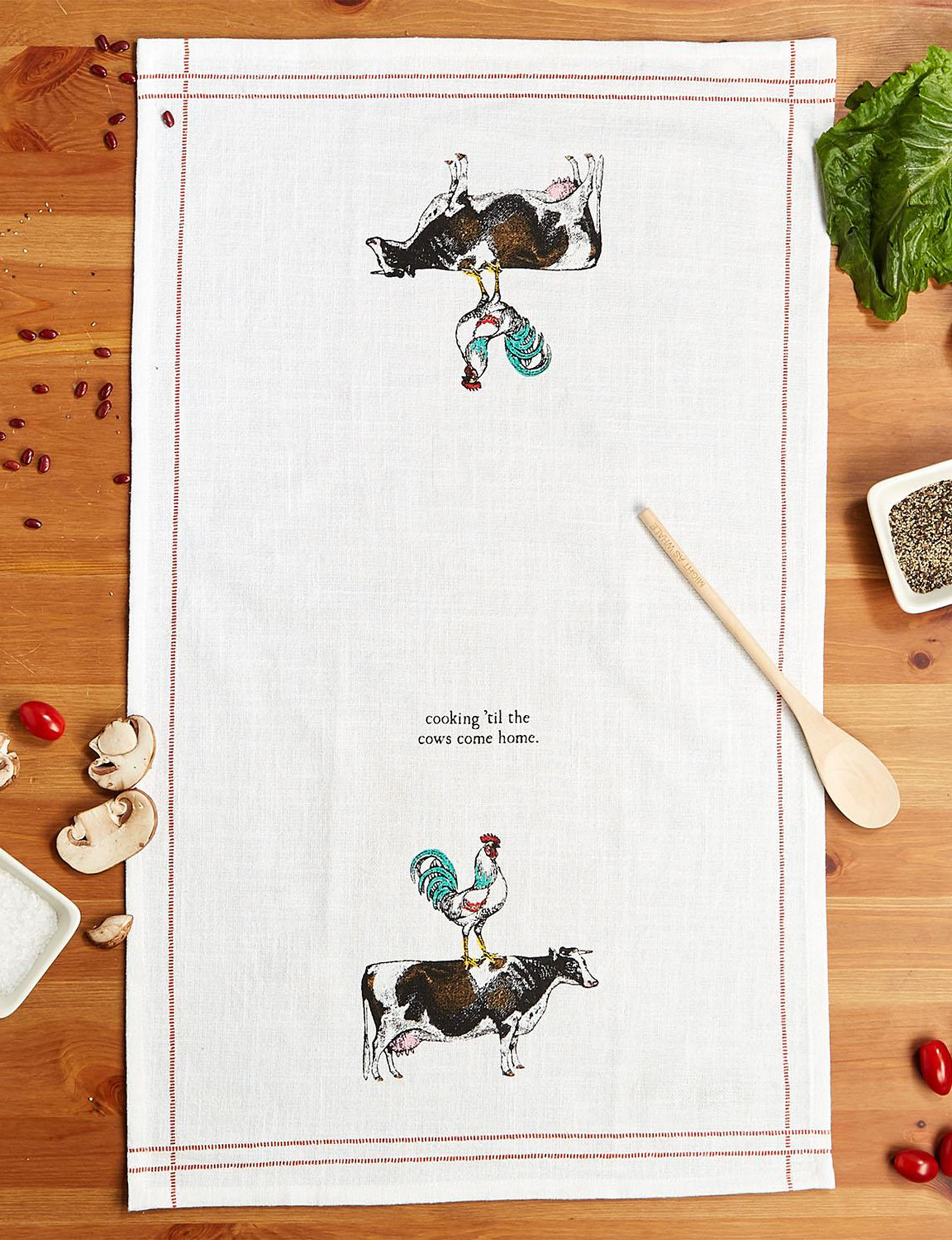 Two's Company White Dish Towels Kitchen Linens