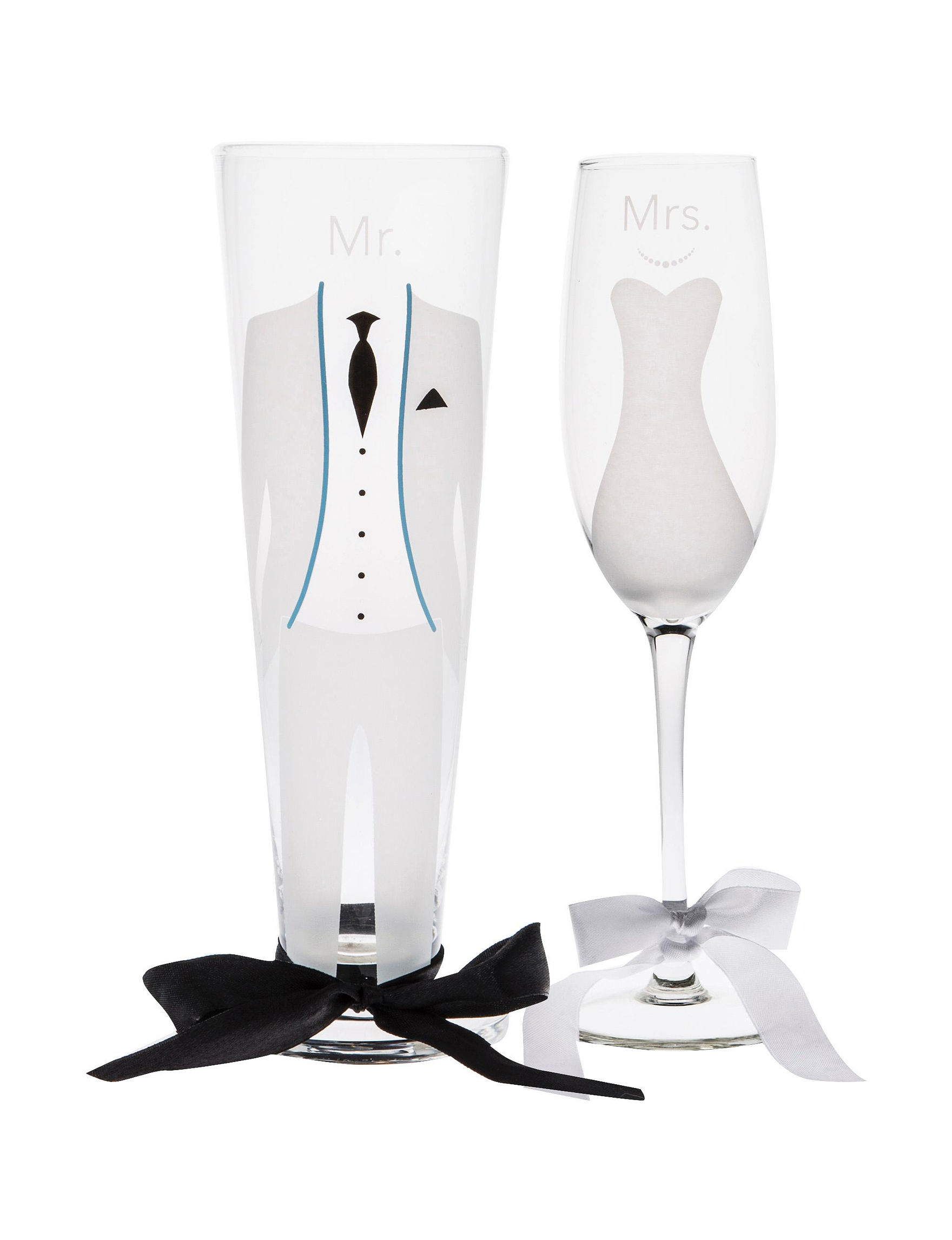 Home Essentials White / Black Champagne Glasses Drinkware