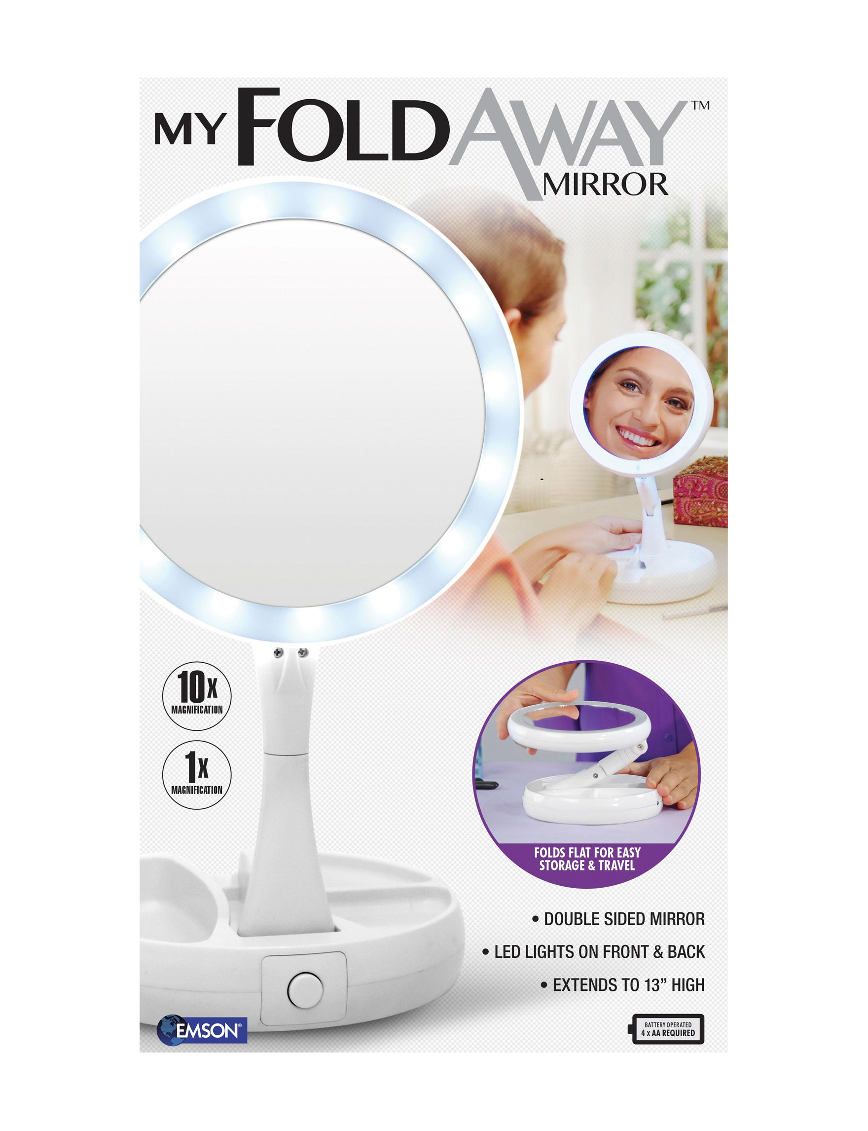 As Seen on TV White Vanity Mirrors Bath Accessories