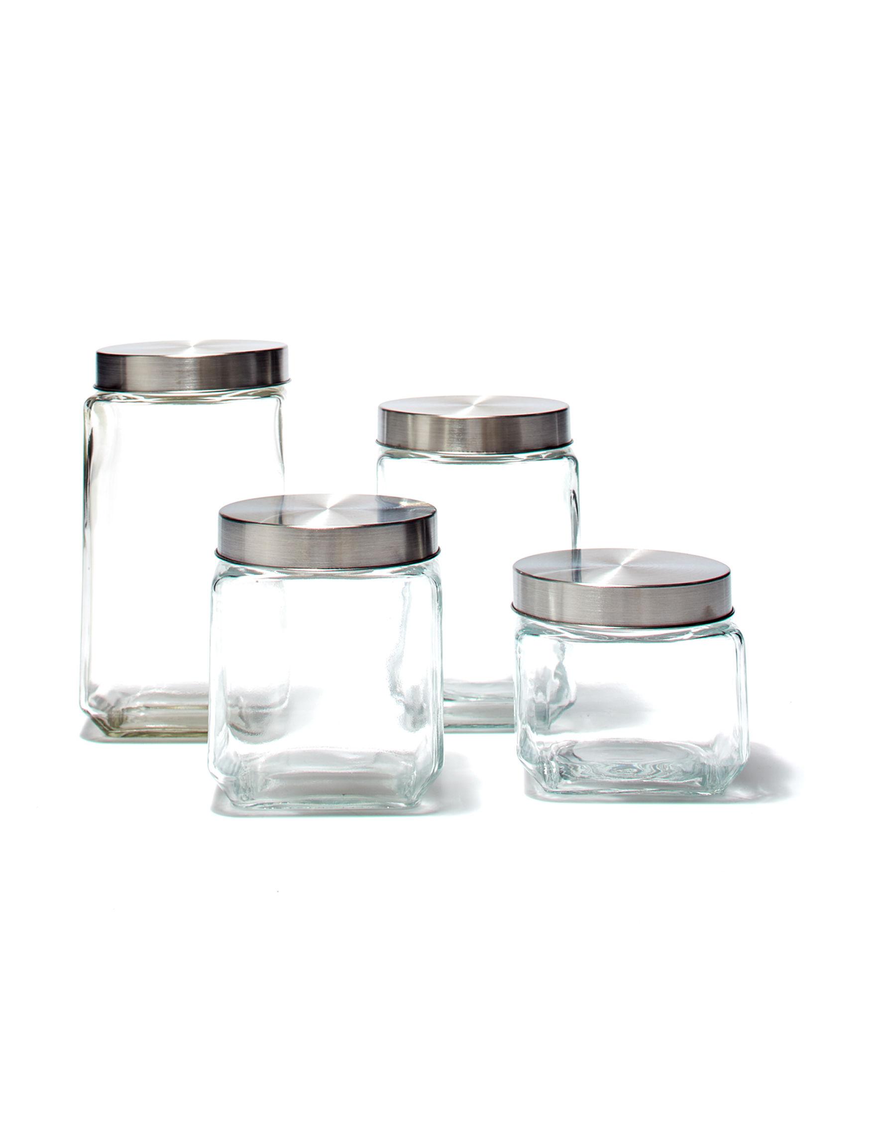 Home Basics Silver / Clear Food Storage Kitchen Storage & Organization