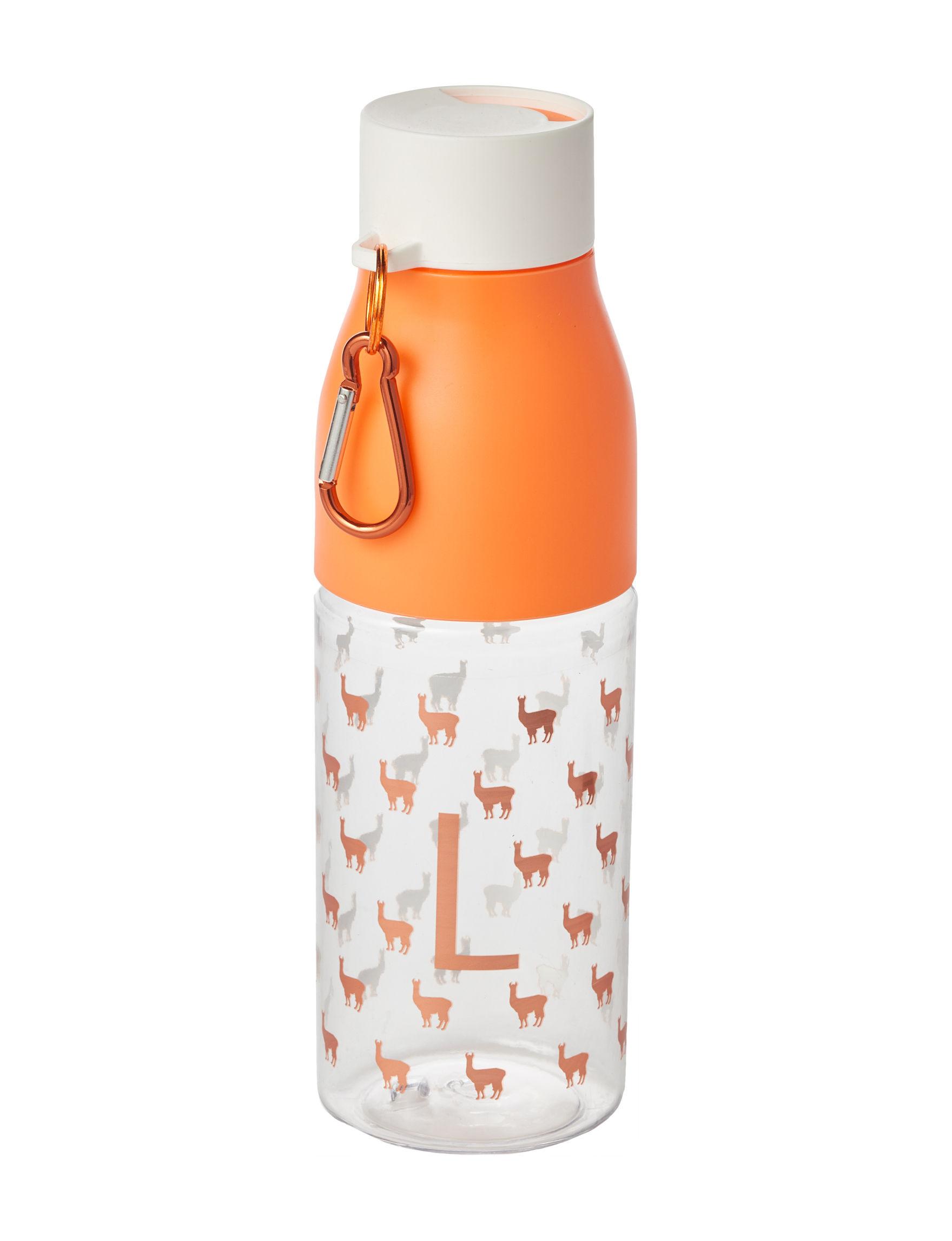 Tri Coastal White / Coral Monogram Water Bottles Drinkware