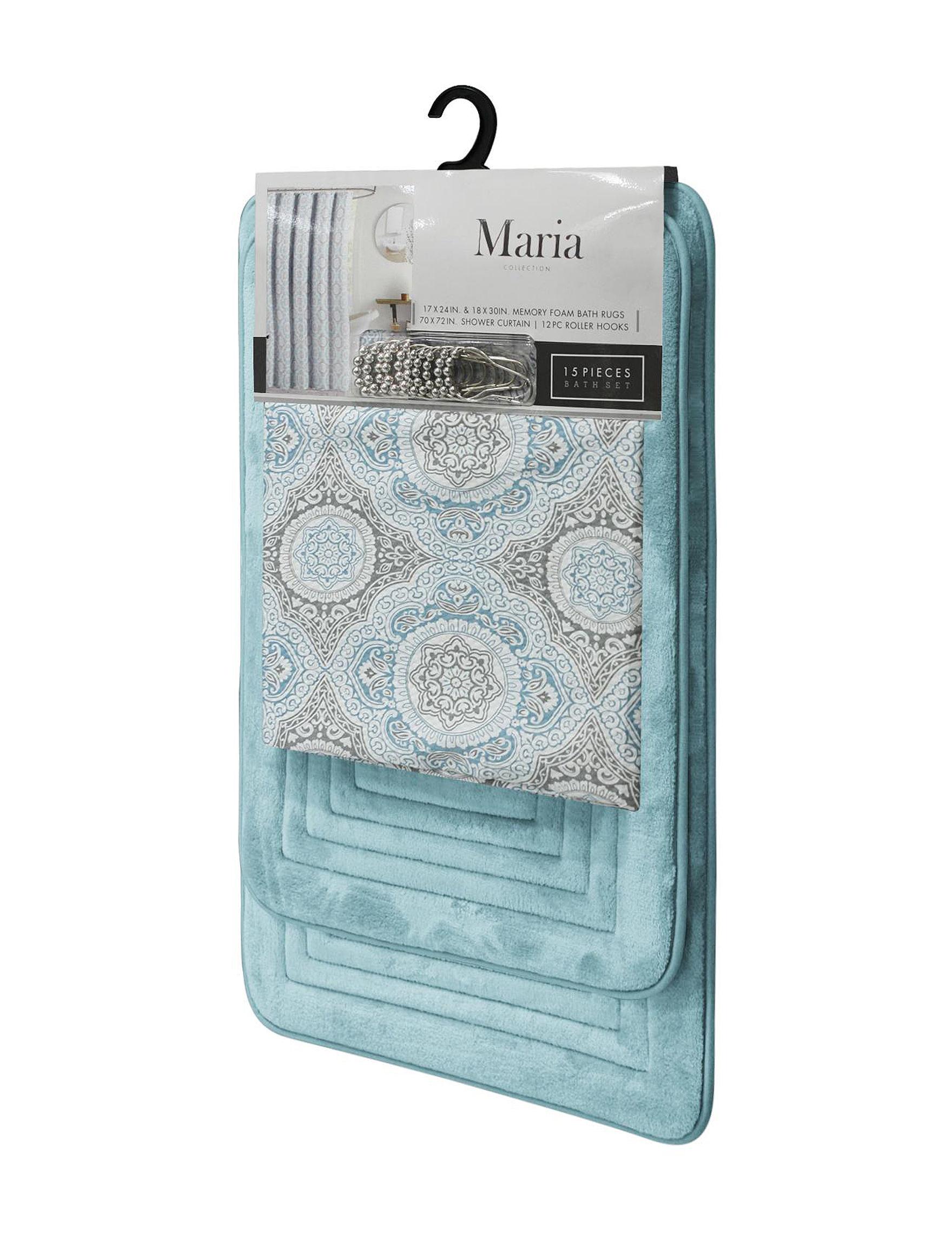 Crest Home Design Turquoise Bath Rugs & Mats Shower Curtains & Hooks
