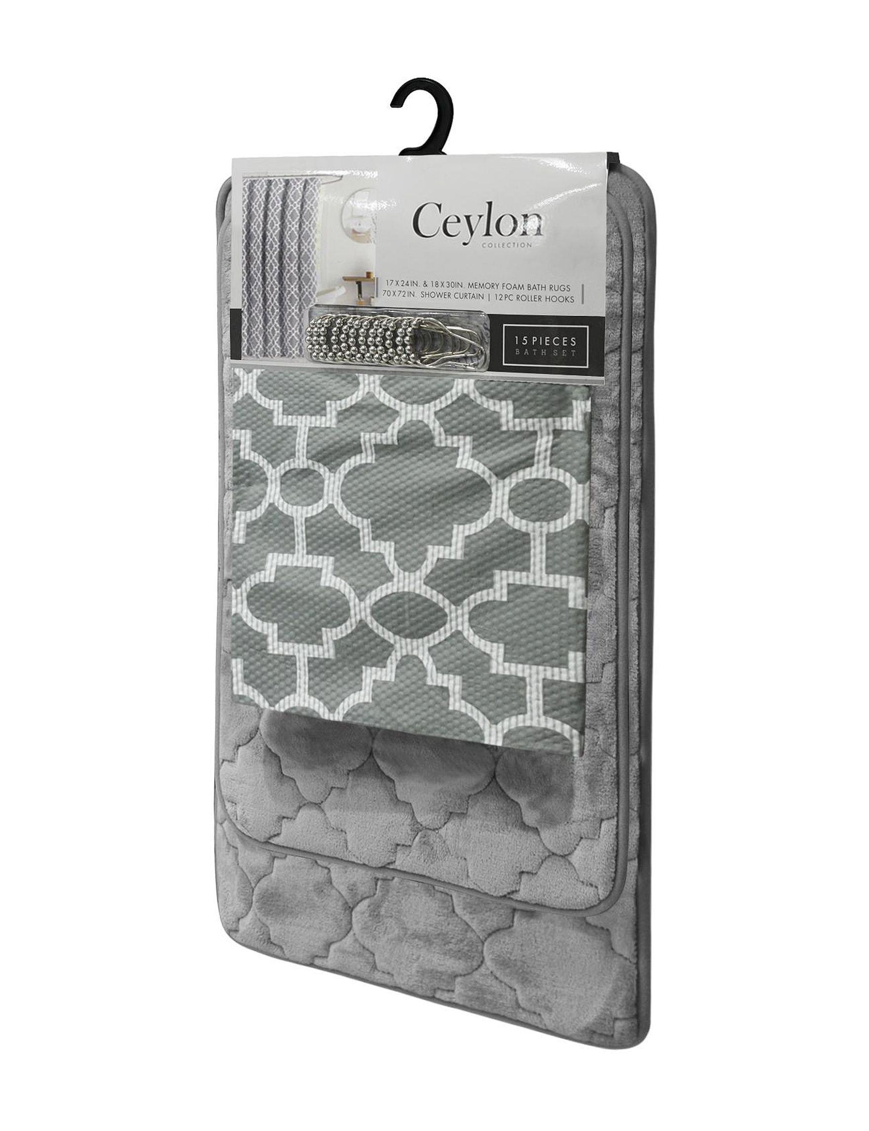 Crest Home Design Grey Bath Rugs & Mats Shower Curtains & Hooks