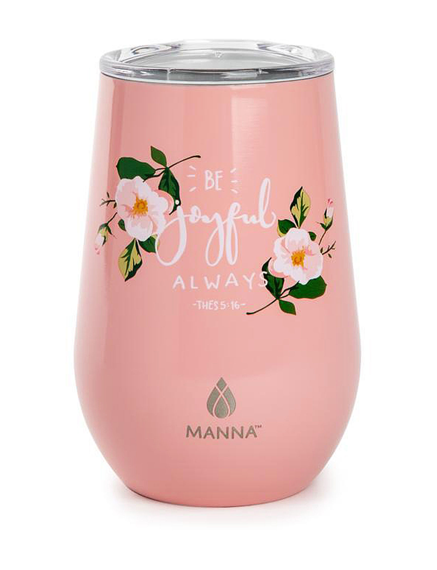 Manna Pink Floral Wine Glasses Drinkware