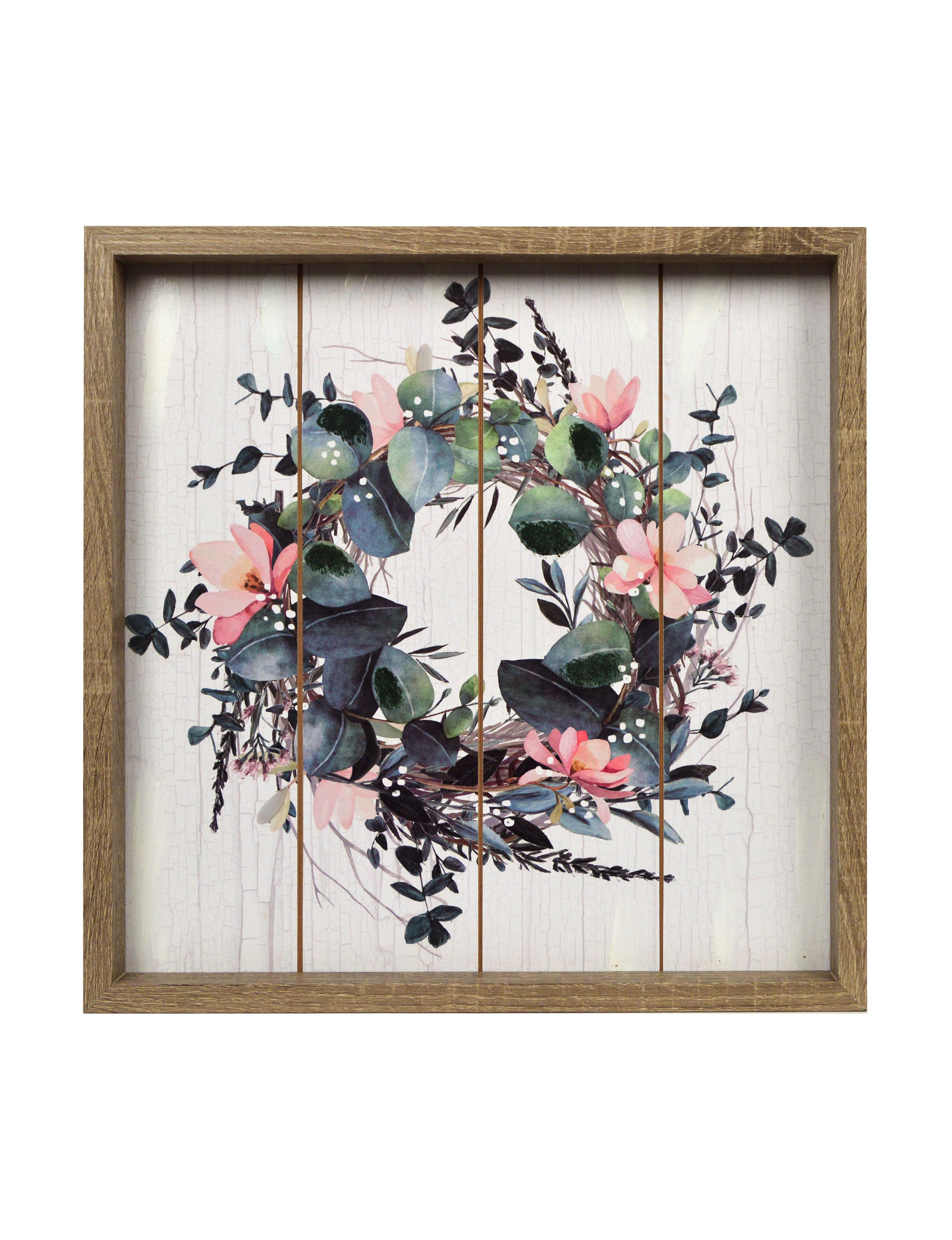 New view wreath on plank wall art