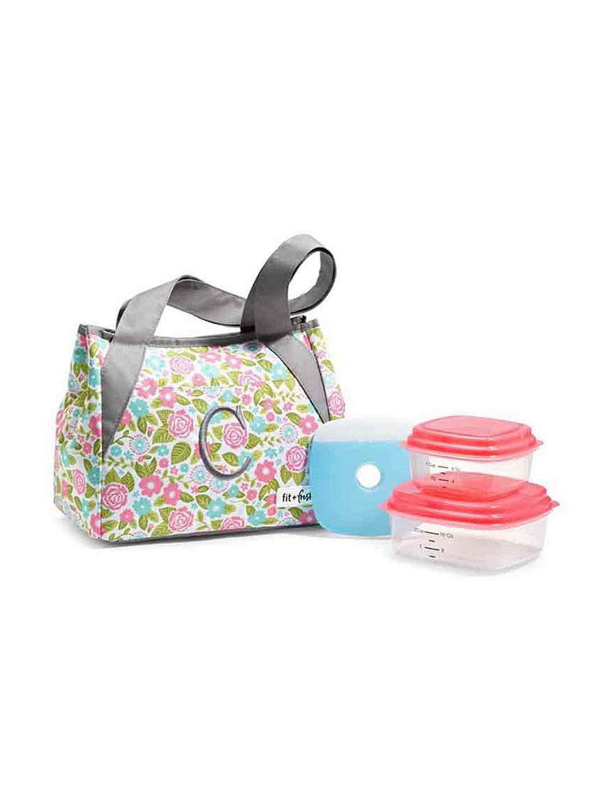 Fit & Fresh Grey Multi Lunch Boxes & Bags Monogram Kitchen Storage & Organization