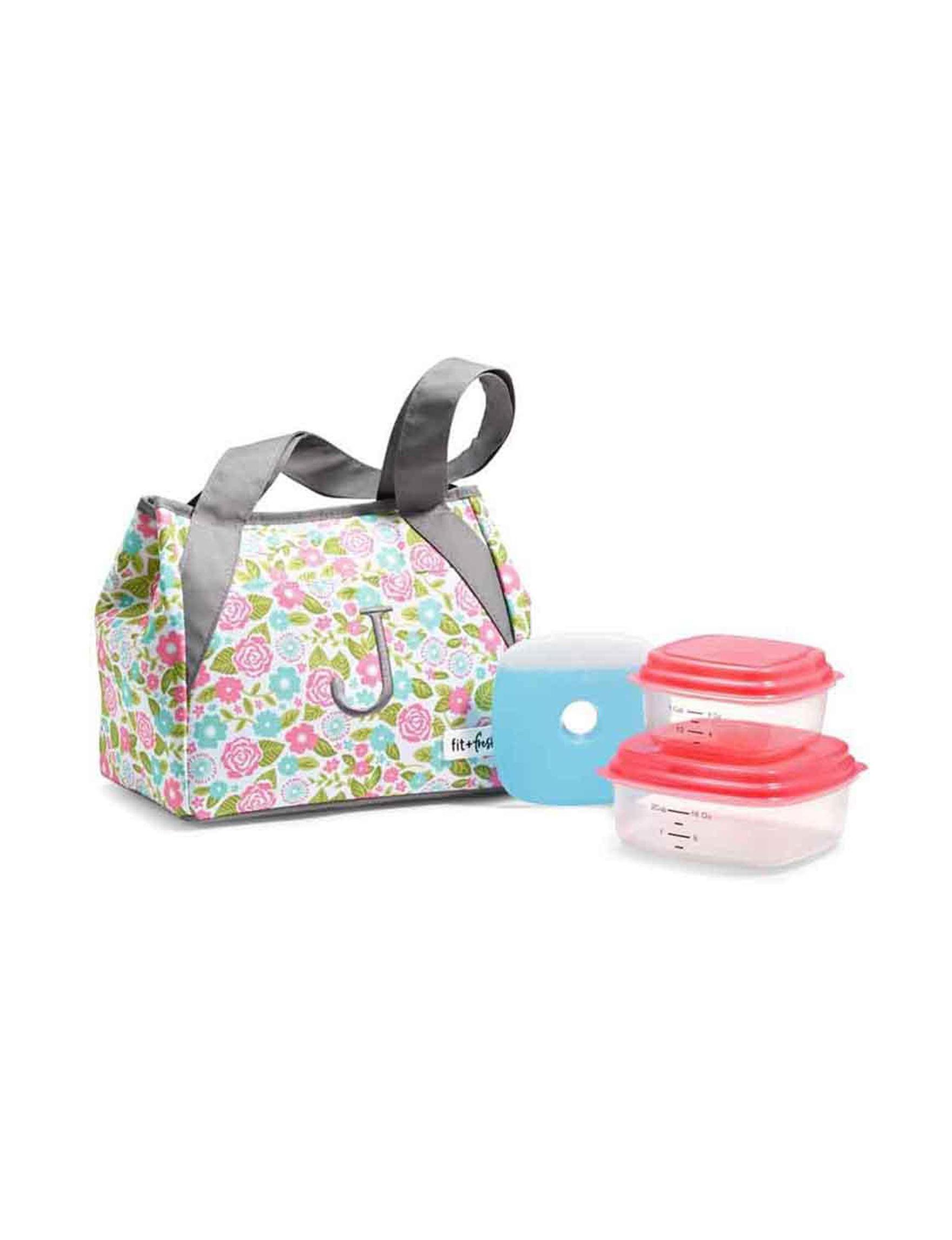 Fit & Fresh Grey Multi Lunch Boxes & Bags Monogram Kitchen Storage & Organization