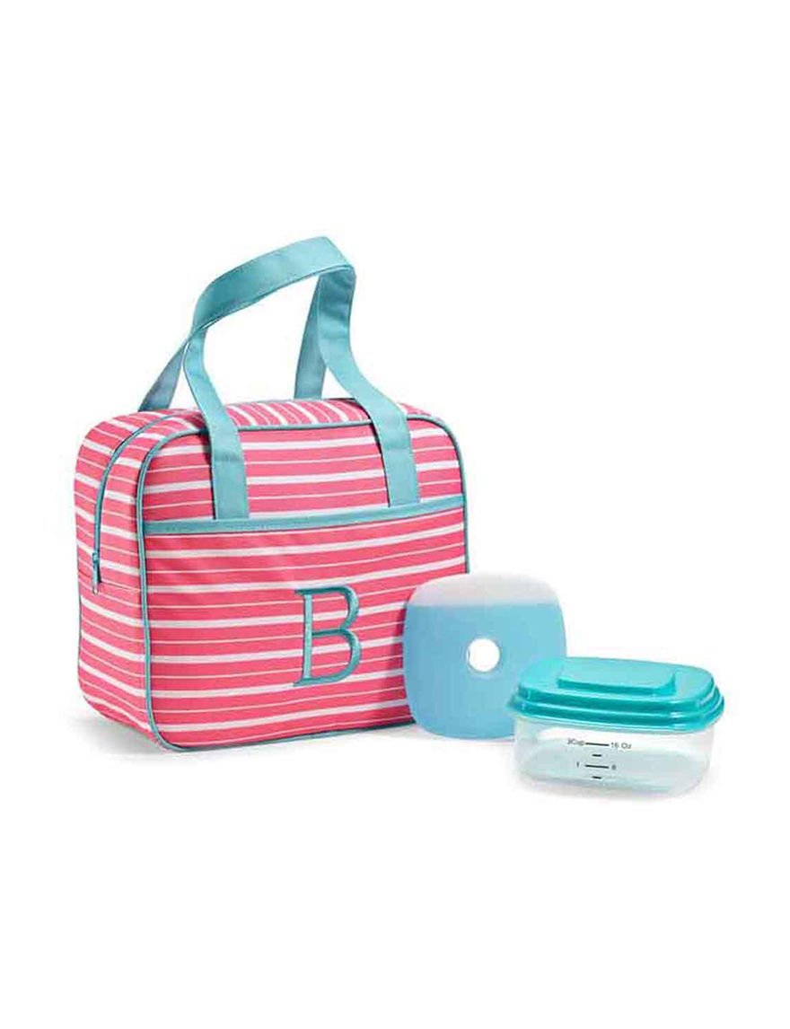 Fit & Fresh Blue / Pink Lunch Boxes & Bags Monogram Kitchen Storage & Organization