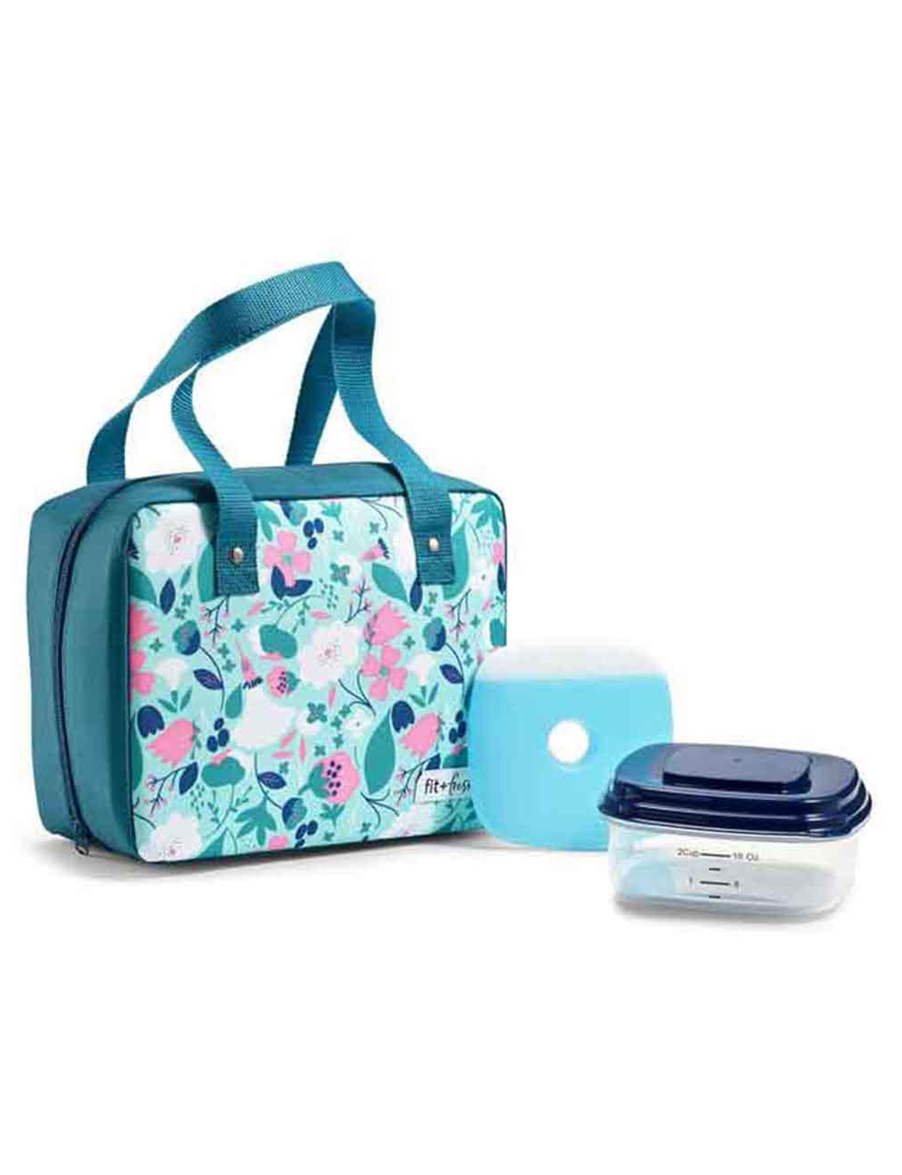 Fit & Fresh Blue Floral Lunch Boxes & Bags Monogram Kitchen Storage & Organization