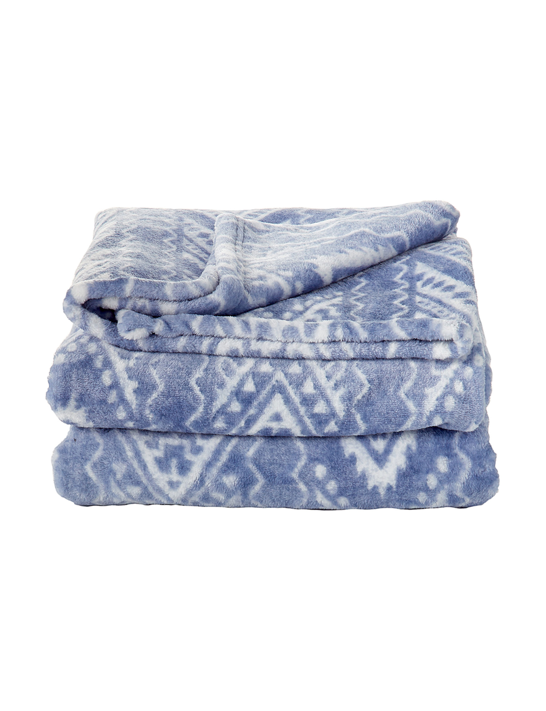 Dream Home NY Blue Chevron Blankets & Throws