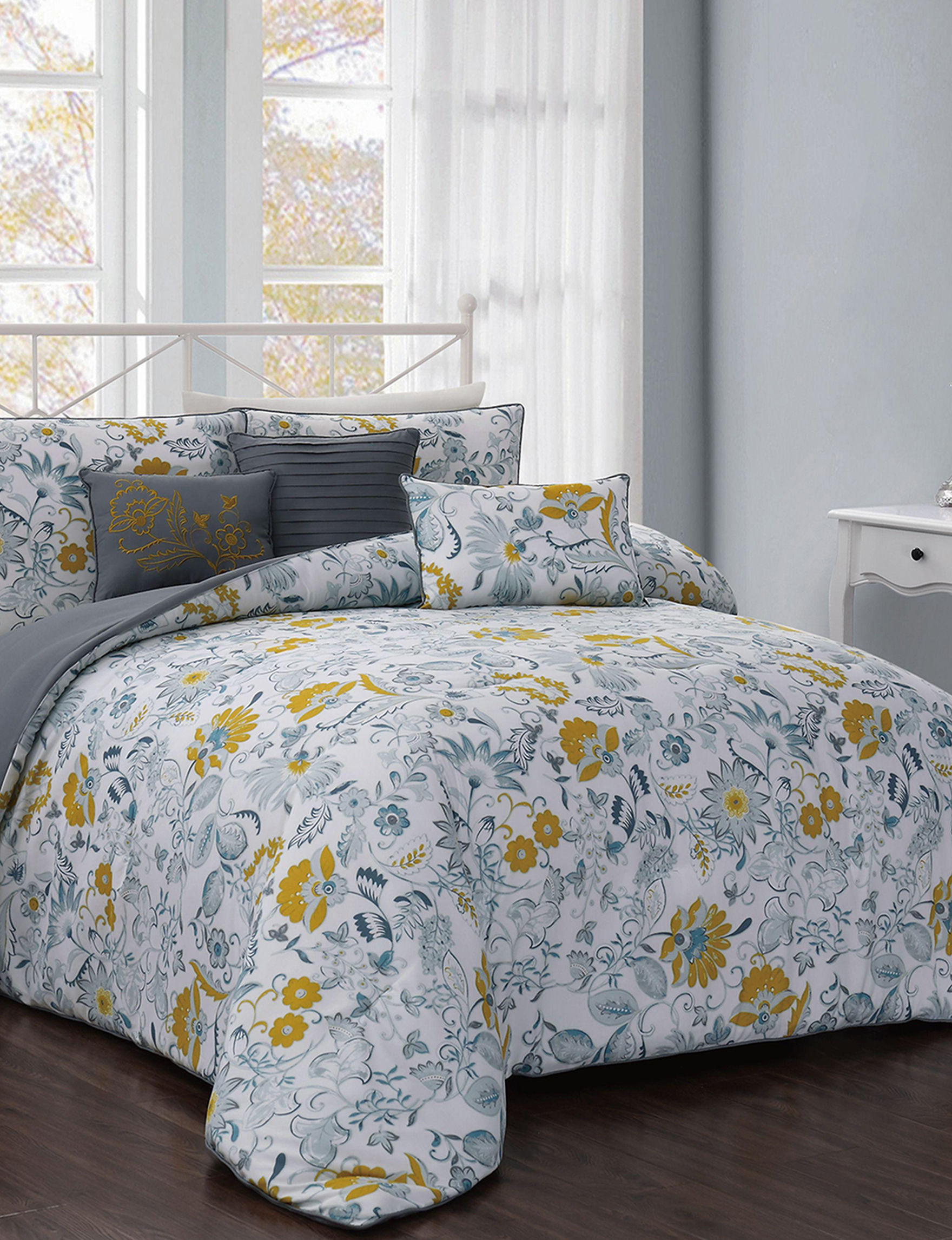 Addison White / Yellow Comforters & Comforter Sets