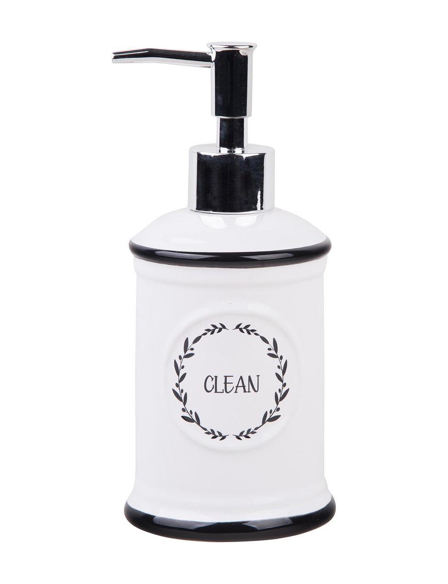 Home Essentials White / Black Soap & Lotion Dispensers Bath Accessories