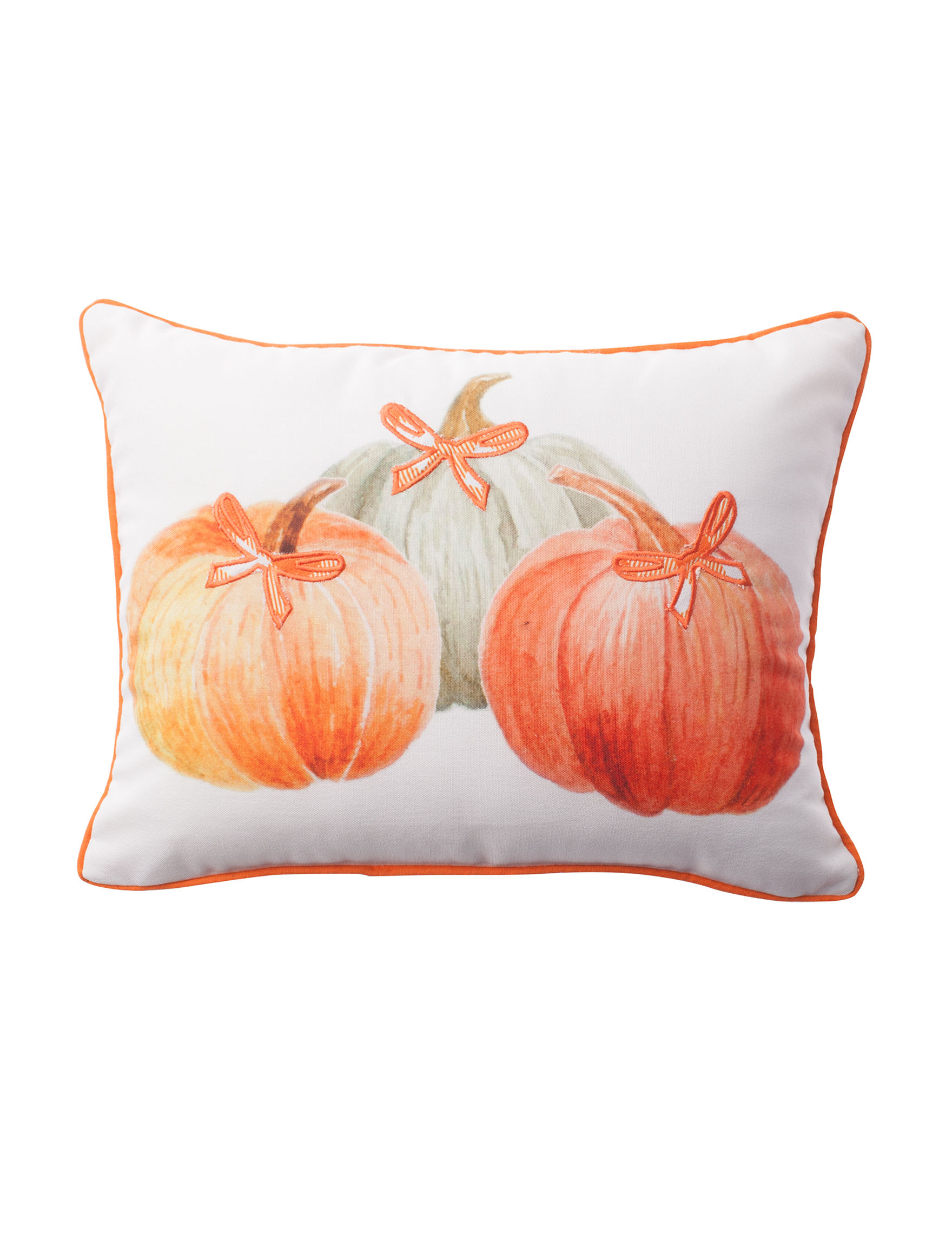 Thro White / Orange Decorative Pillows