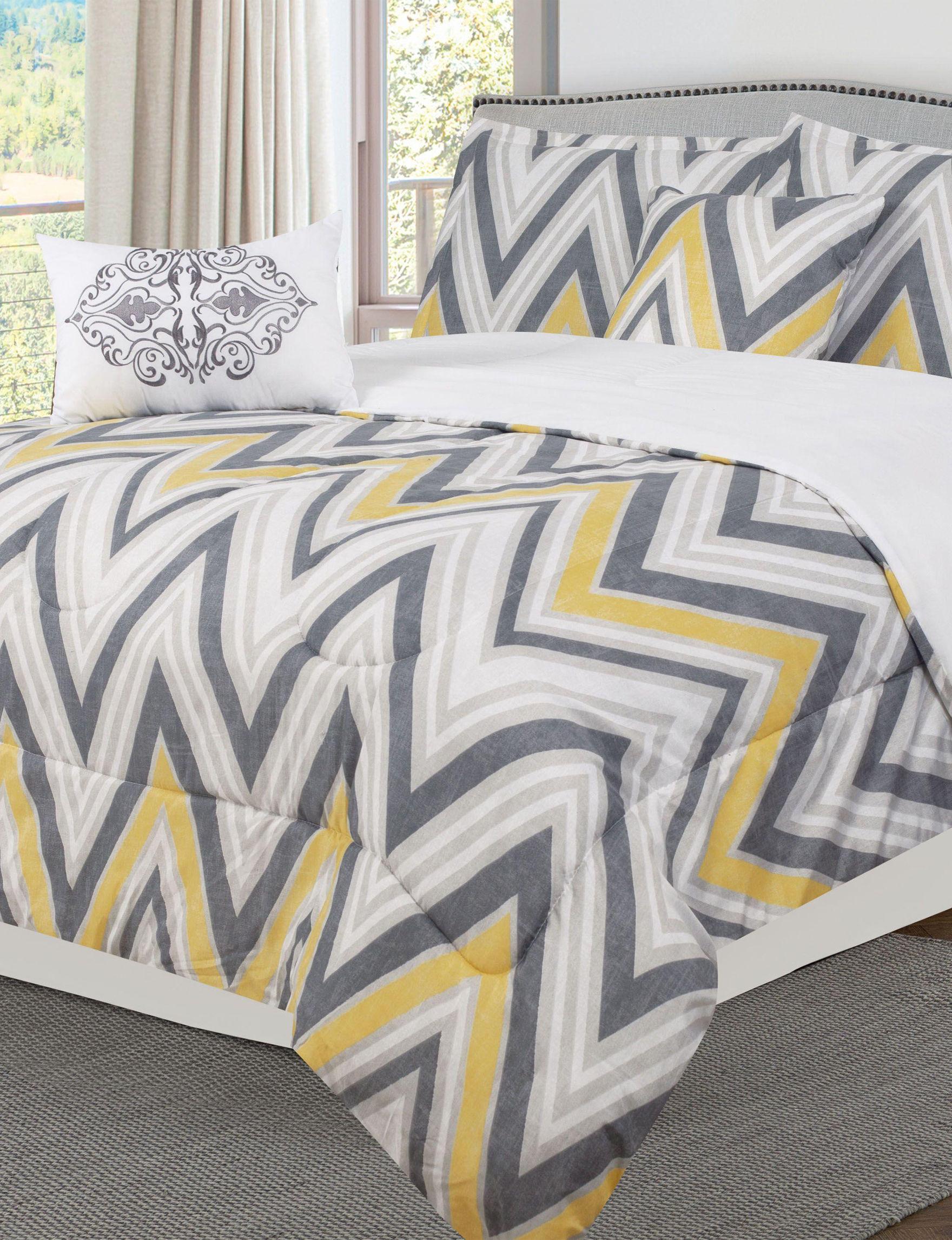 Bibbs Home White Chevron Comforters & Comforter Sets