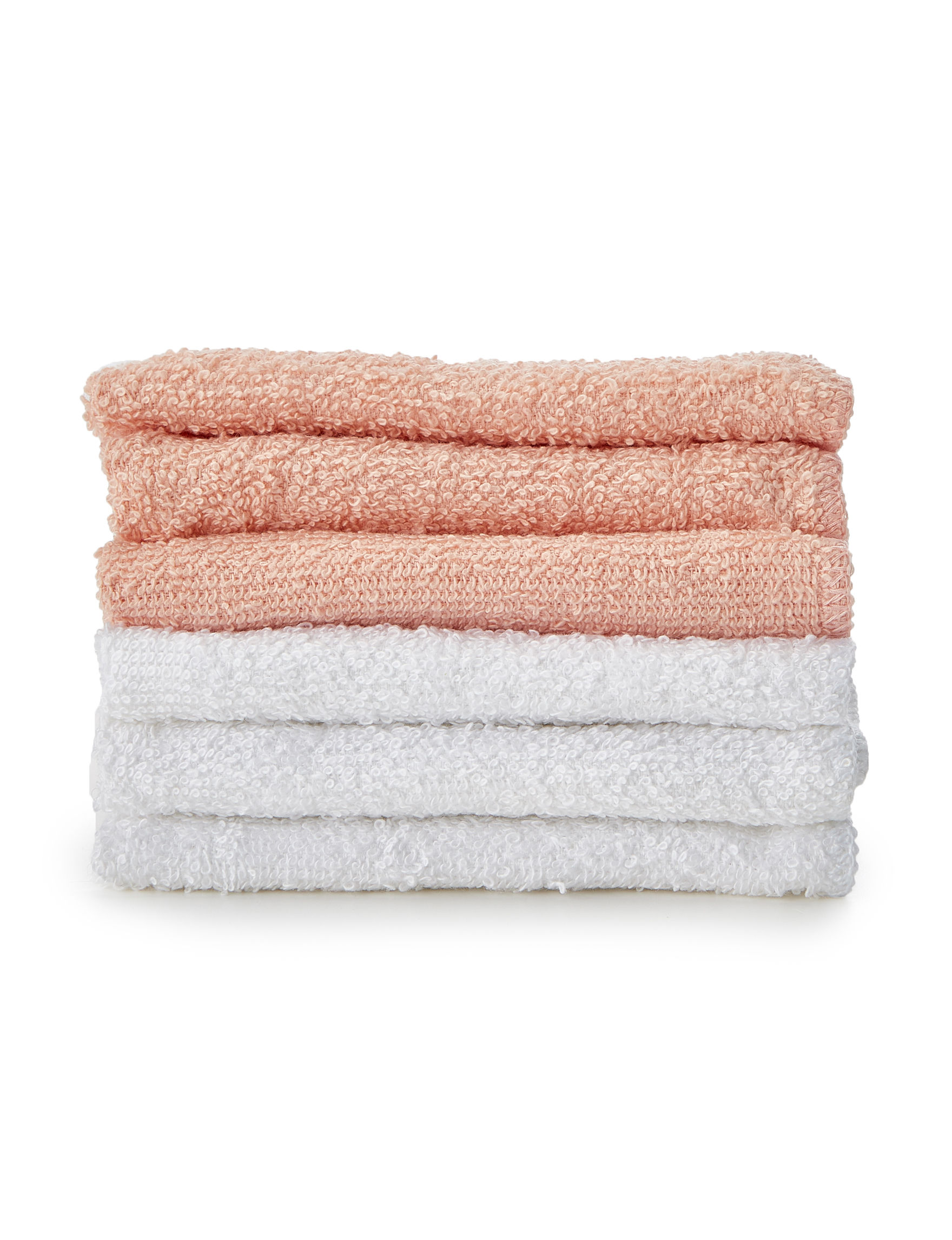 1888 Mills White / Coral Towels
