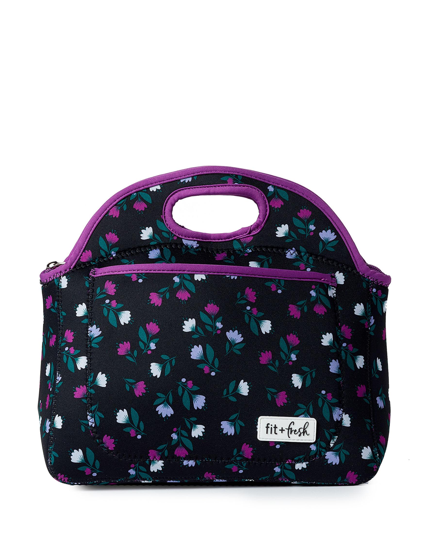 Fit & Fresh Black Floral Lunch Boxes & Bags Kitchen Storage & Organization