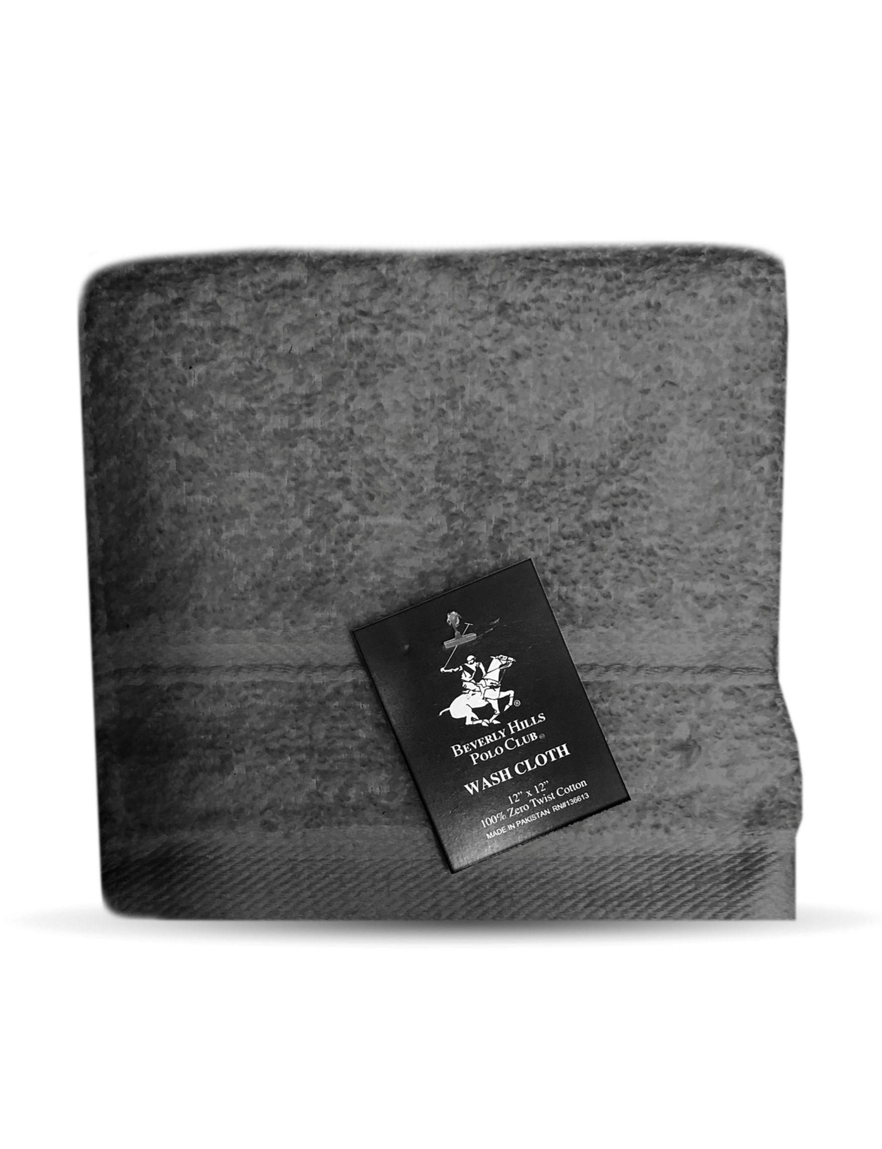 Beverly Hills Polo Club Grey Washcloths Towels