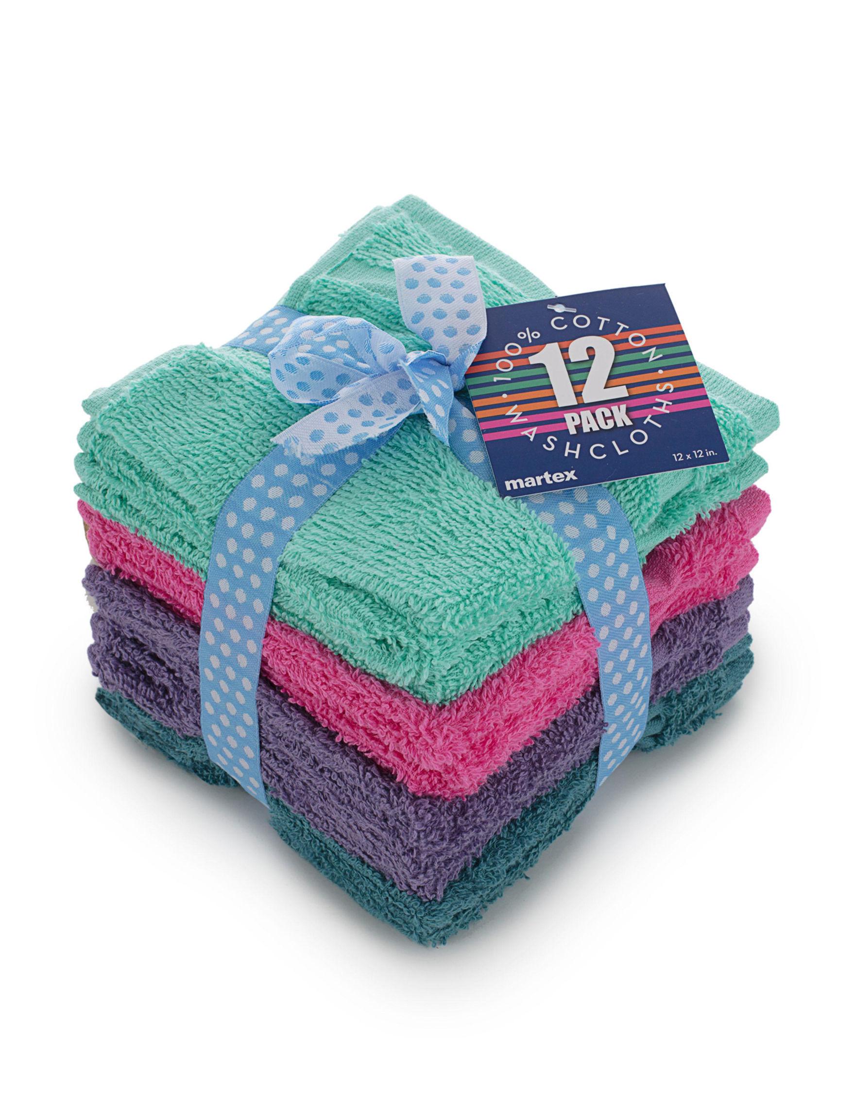 Martex Green / Multi Washcloths Towels