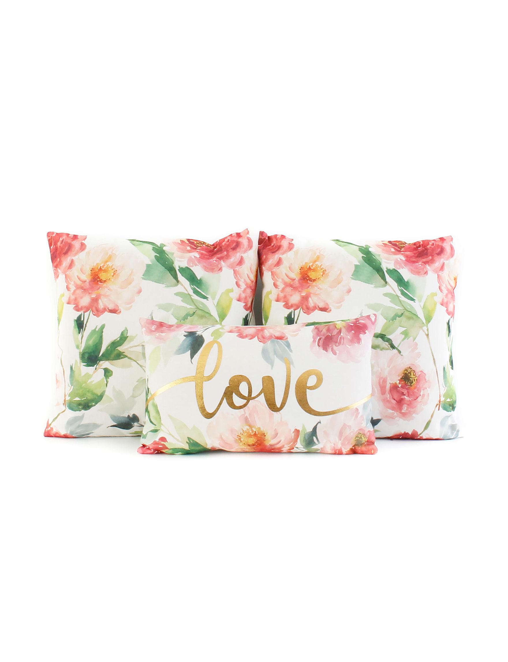 Thro White Floral Decorative Pillows