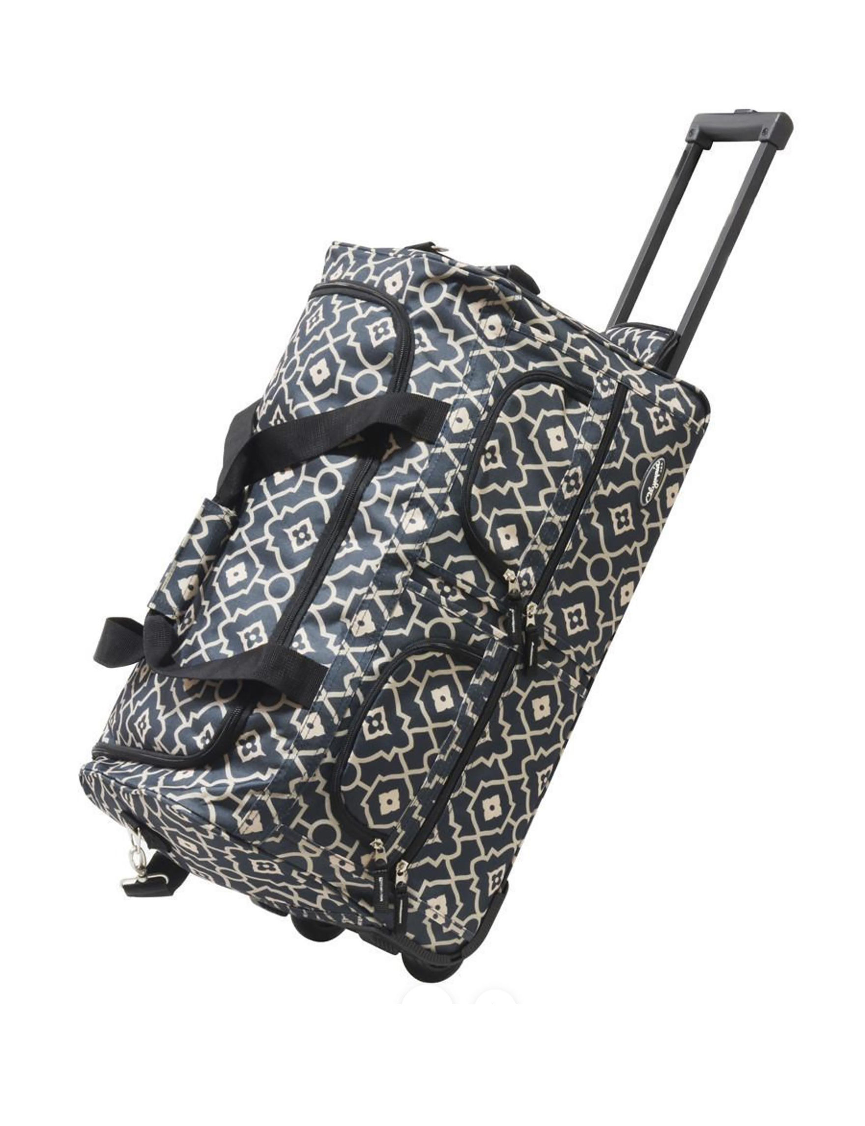 Olympia Black / White Softside Carry On Luggage Duffle Bags