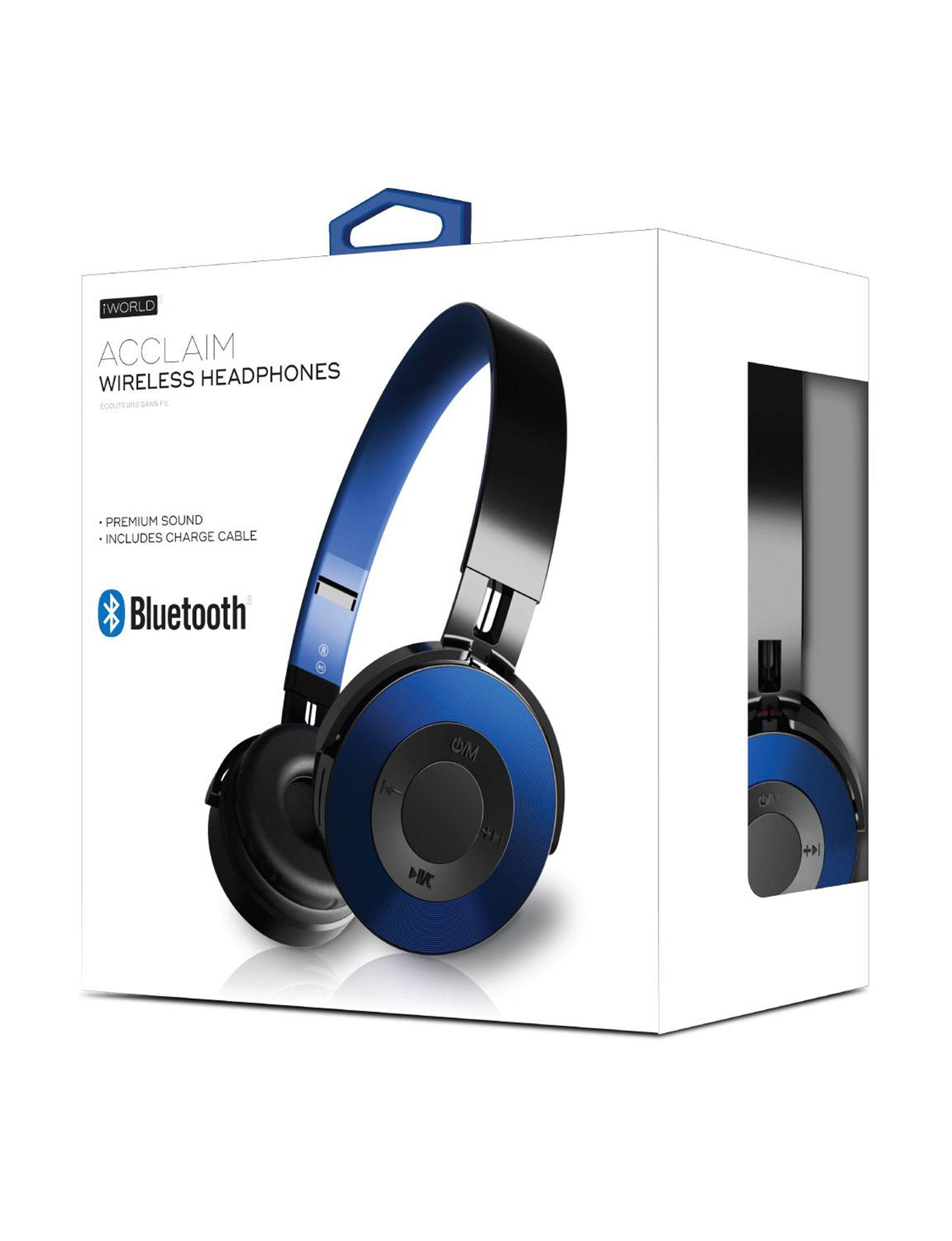 iWorld Black / Blue Headphones Tech Accessories