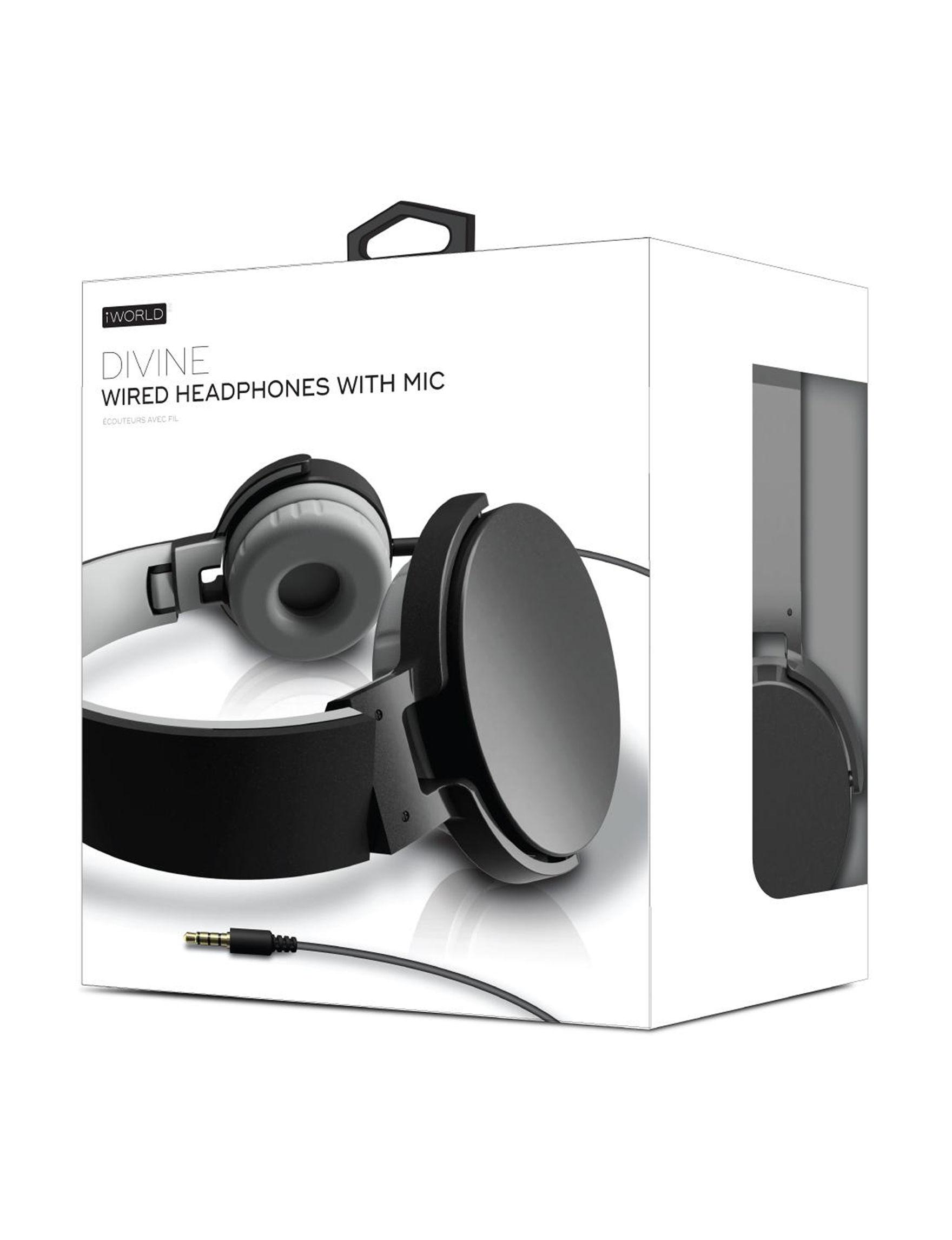 iWorld Black Headphones Tech Accessories