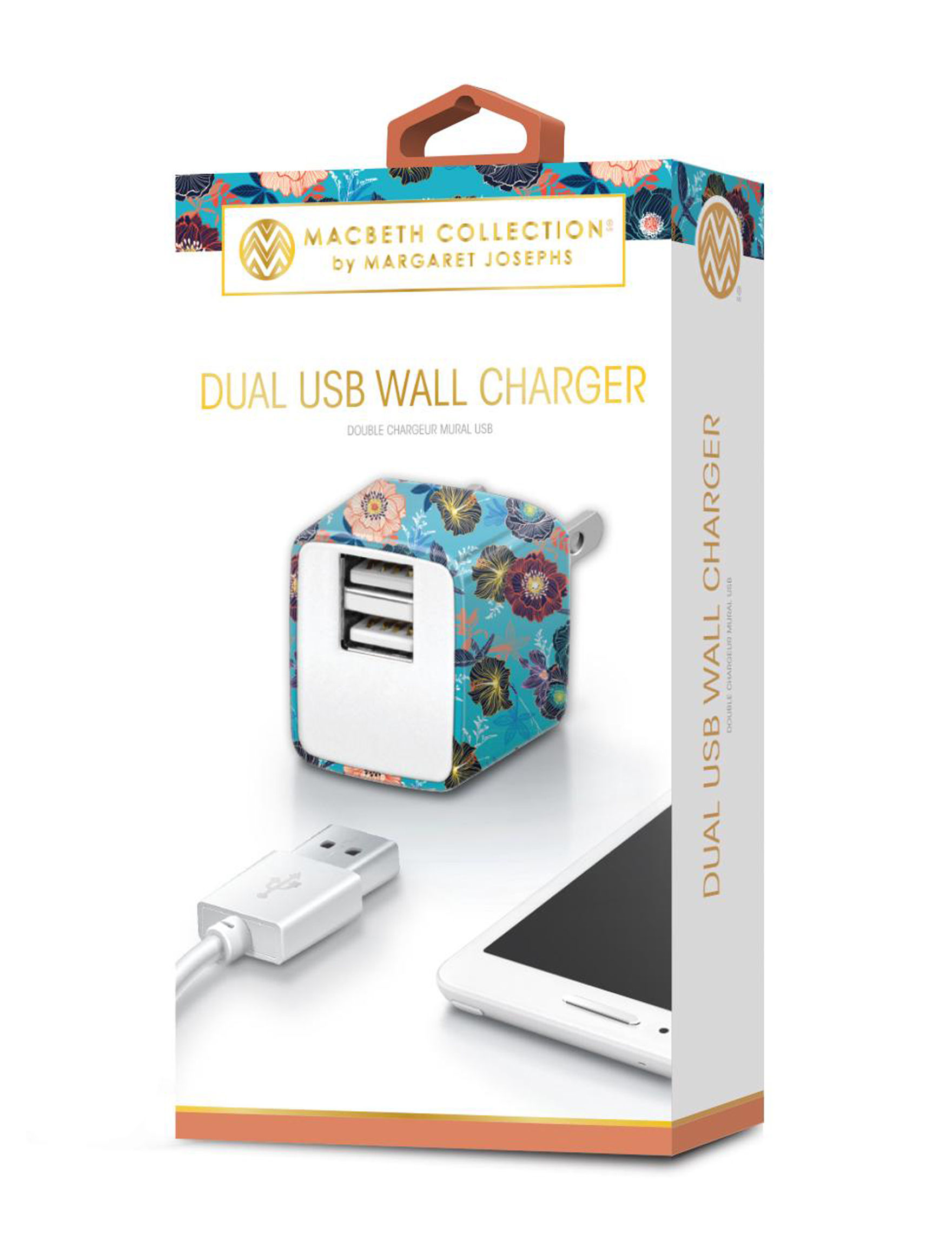iWorld Blue Floral Battery Packs & Chargers Tech Accessories