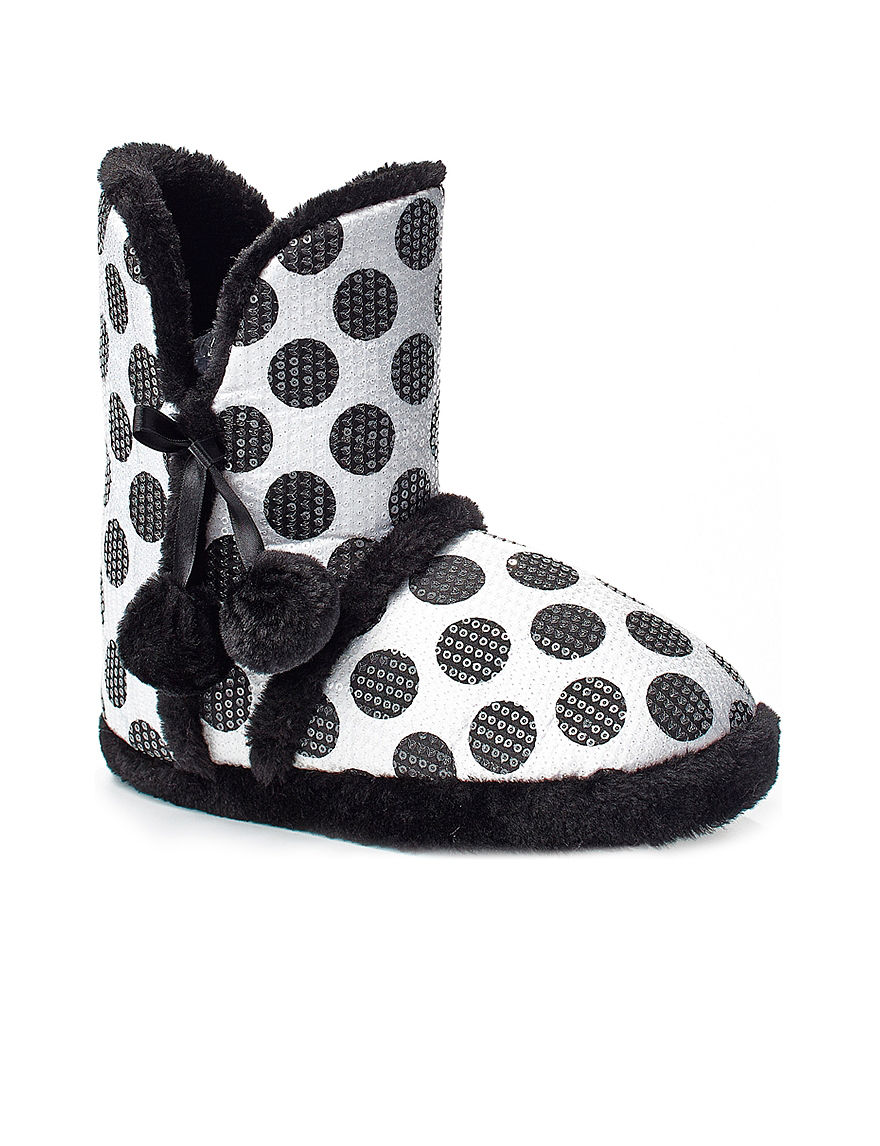 PJ Couture Black / White Slipper Boots & Booties