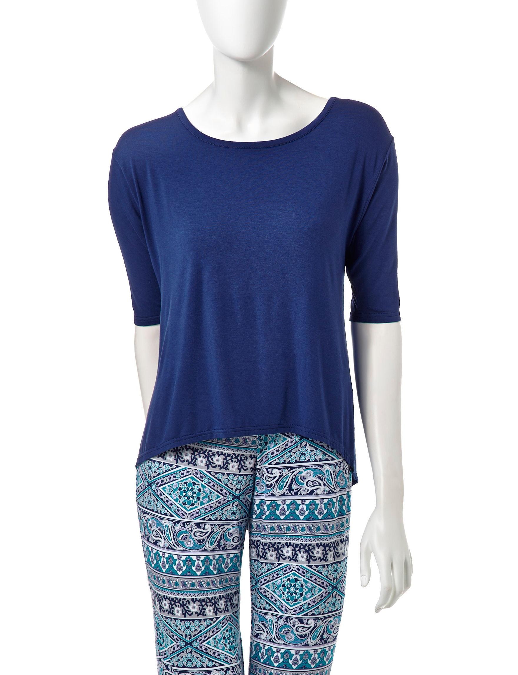 Lissome Navy Pajama Tops