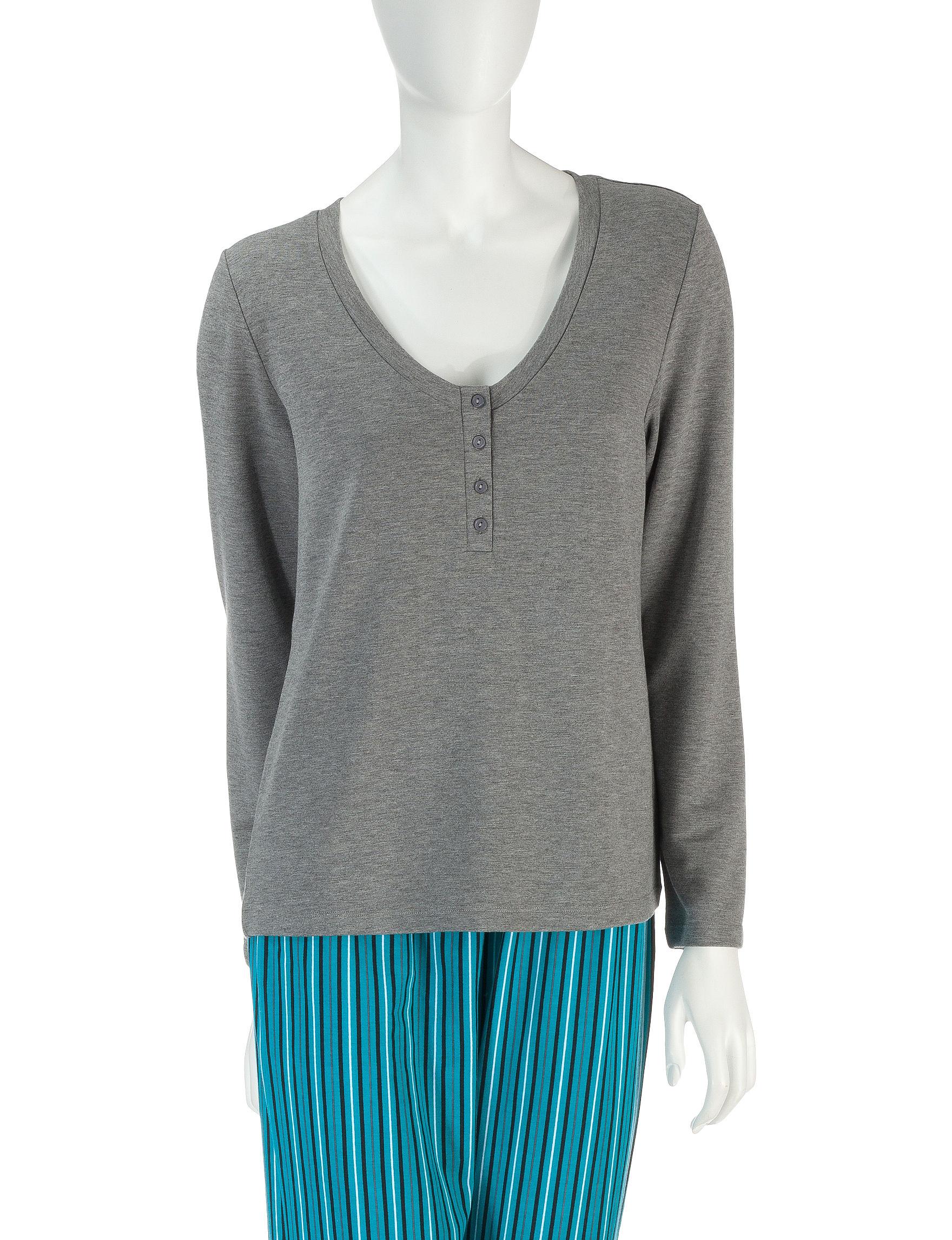 Laura Ashley Grey Pajama Tops