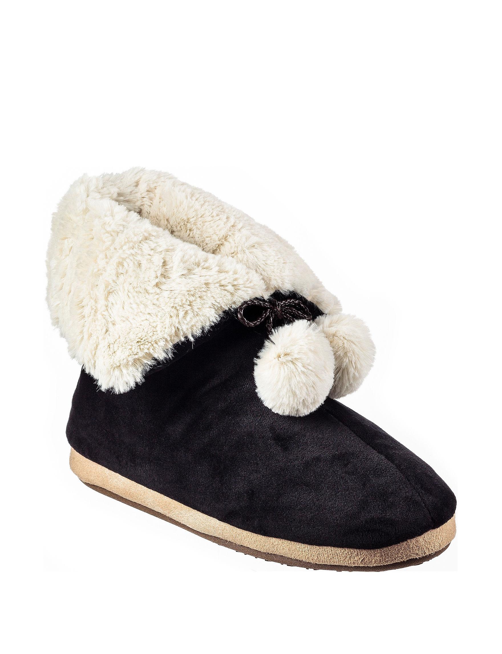 Cuddl Duds Black Slipper Boots & Booties