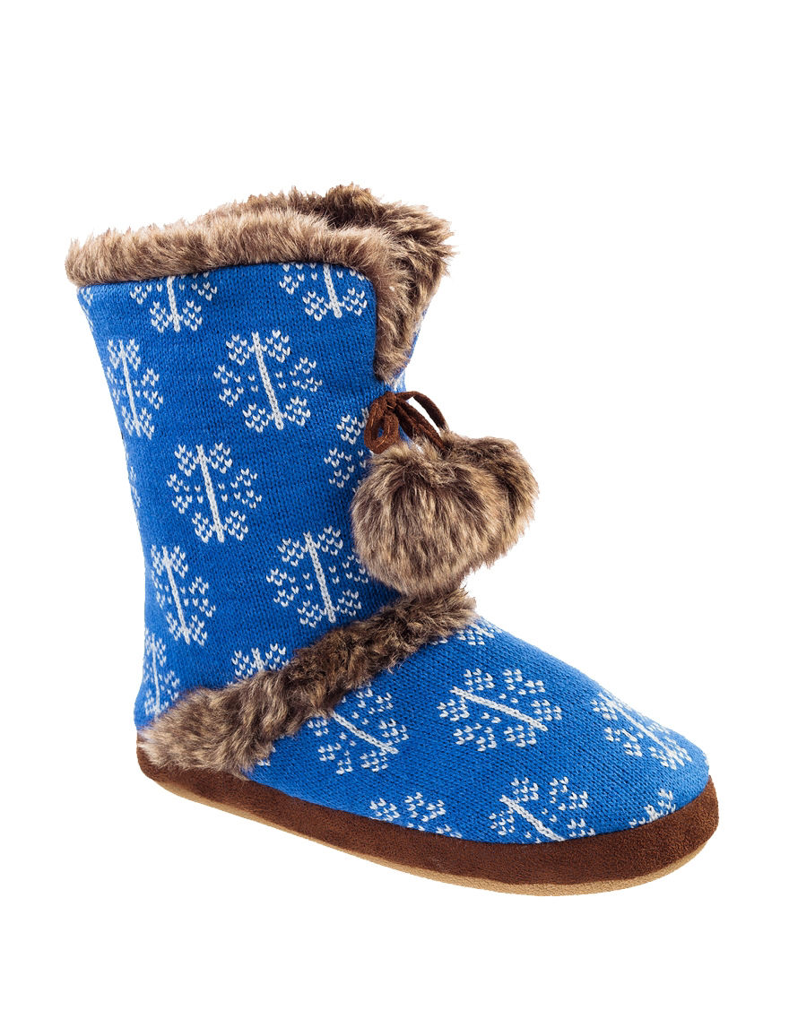 Cuddl Duds Brown / Blue Slipper Boots & Booties