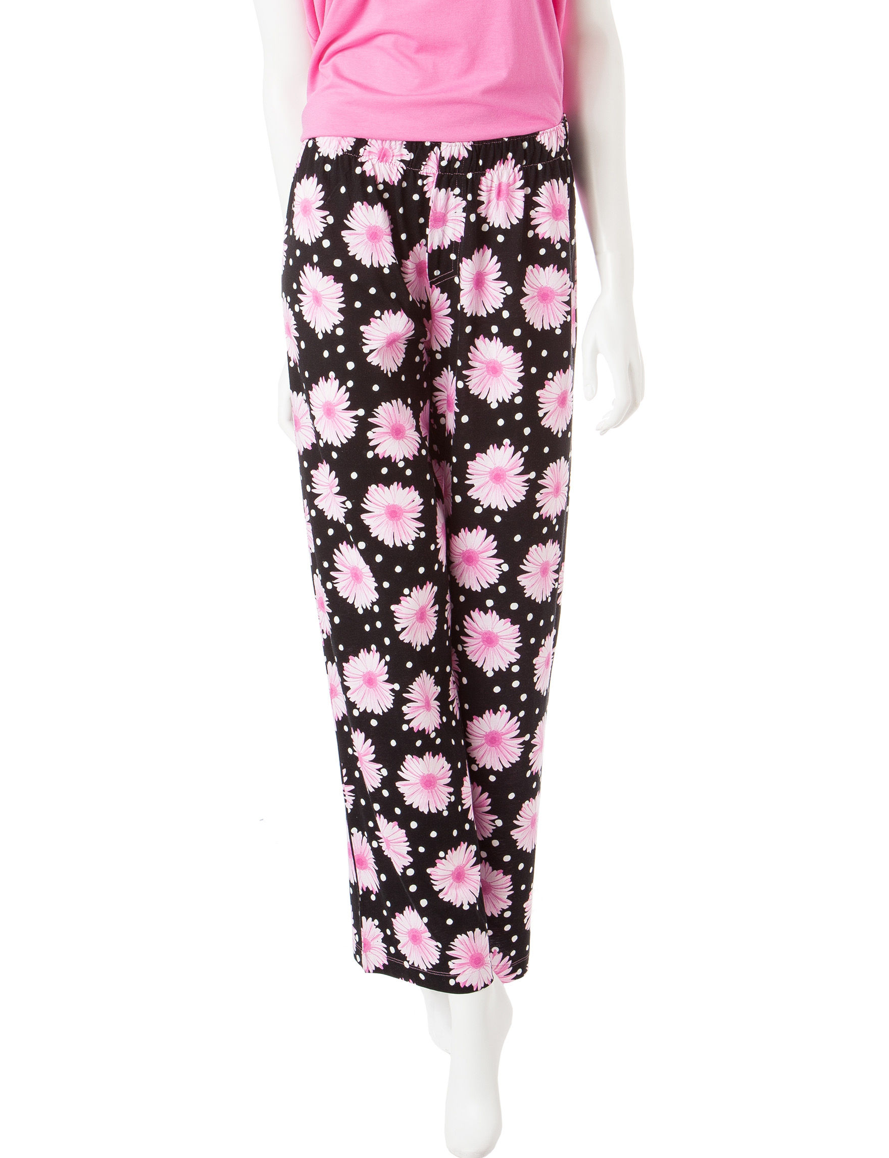 Hue Black / Pink Pajama Bottoms