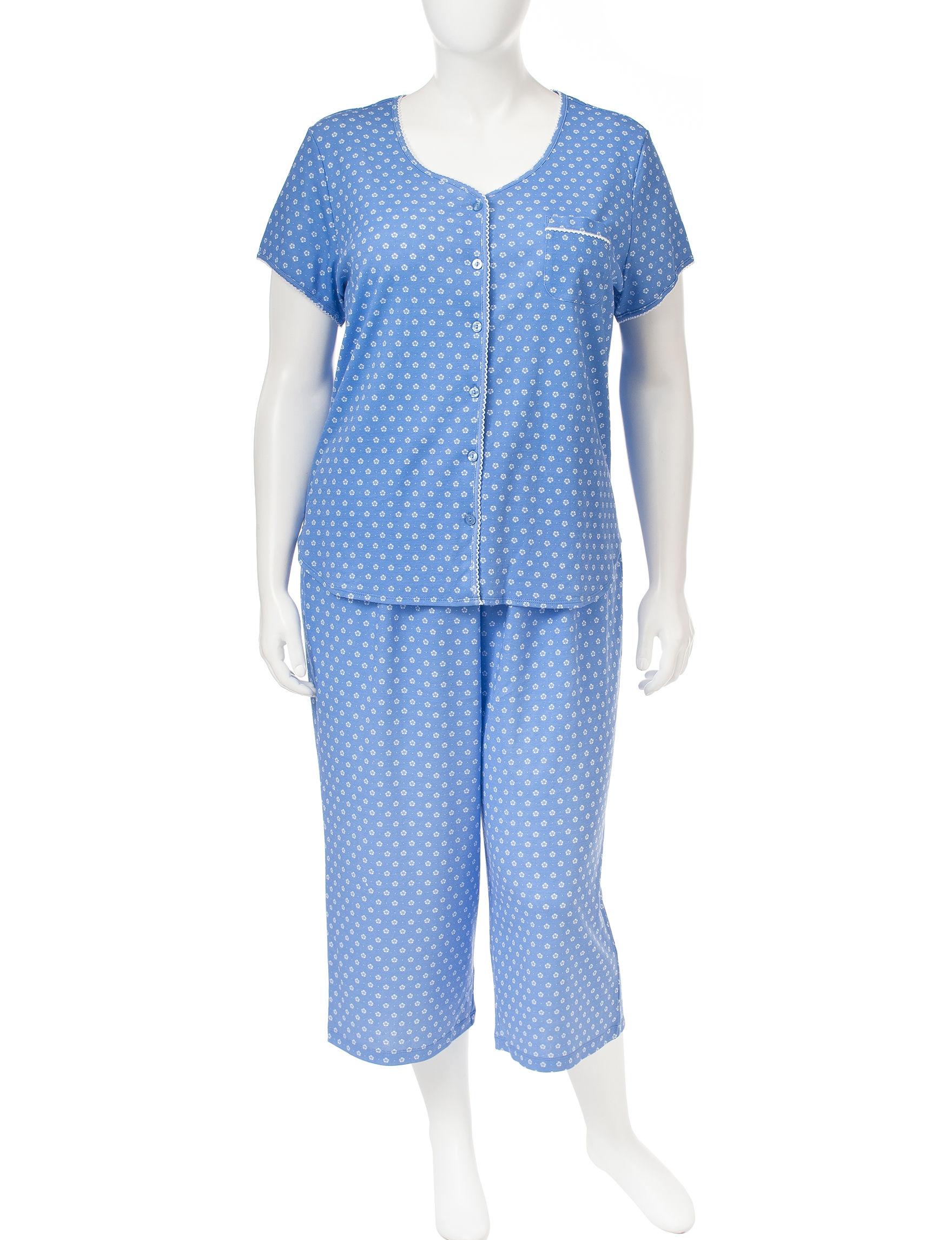Karen Neuburger Blue / White Pajama Sets