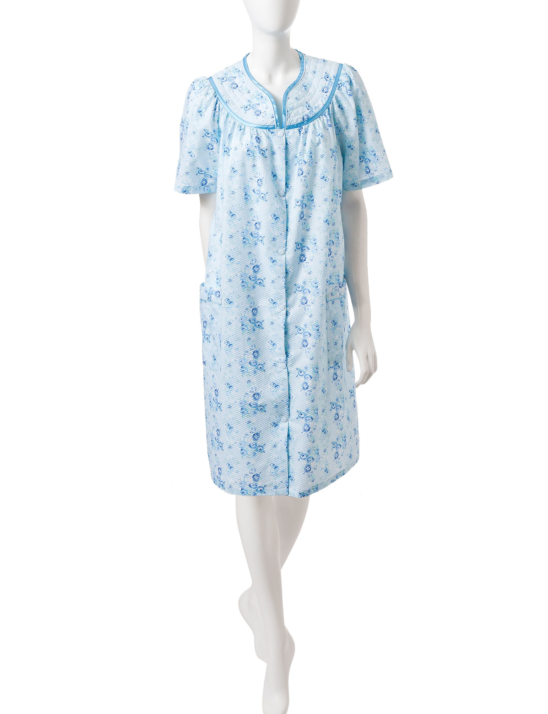 Jasmine Rose Blue Floral Robes, Wraps & Dusters
