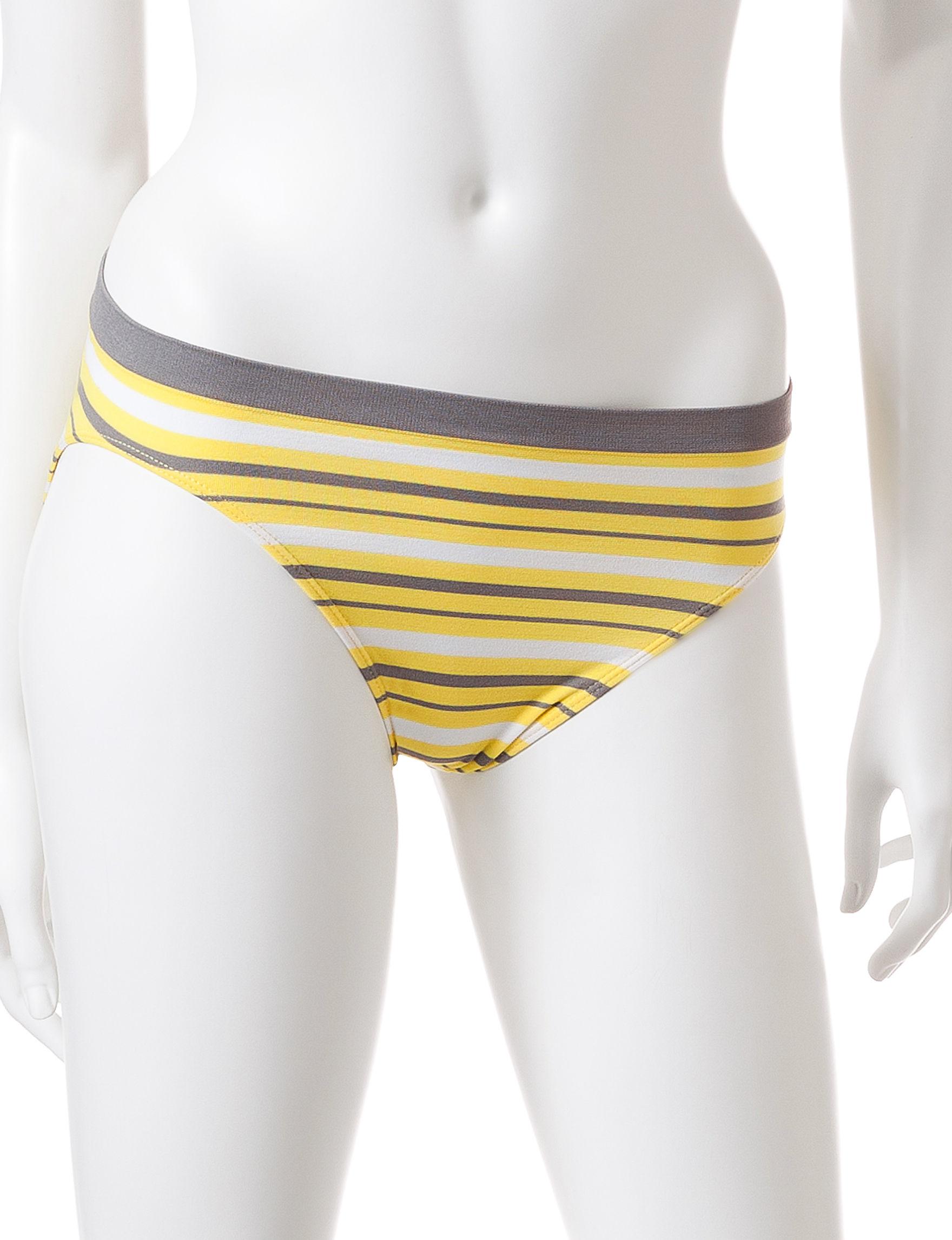 Rene Rofe Yellow Stripe Panties High Cut