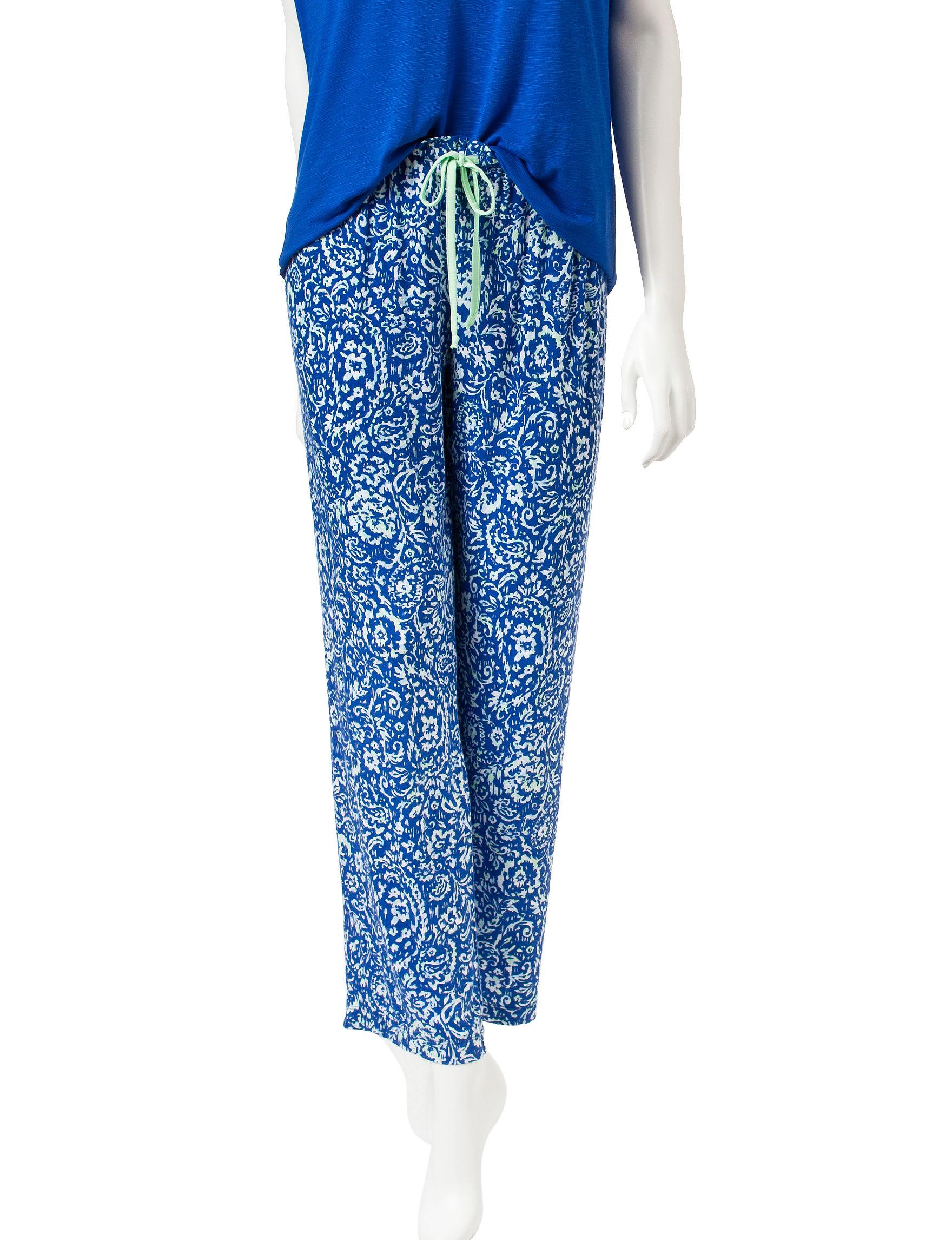 Laura Ashley Blue Paisley Pajama Bottoms