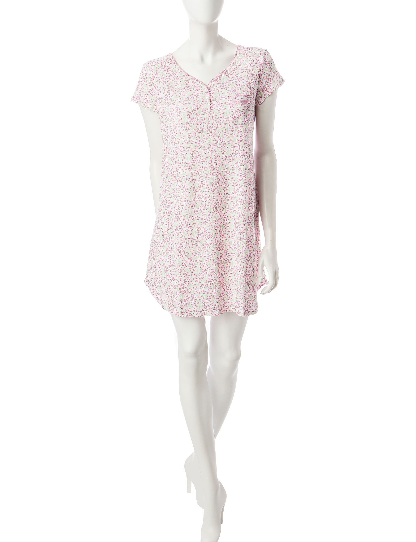 Karen Neuburger Pink Multi Nightgowns & Sleep Shirts