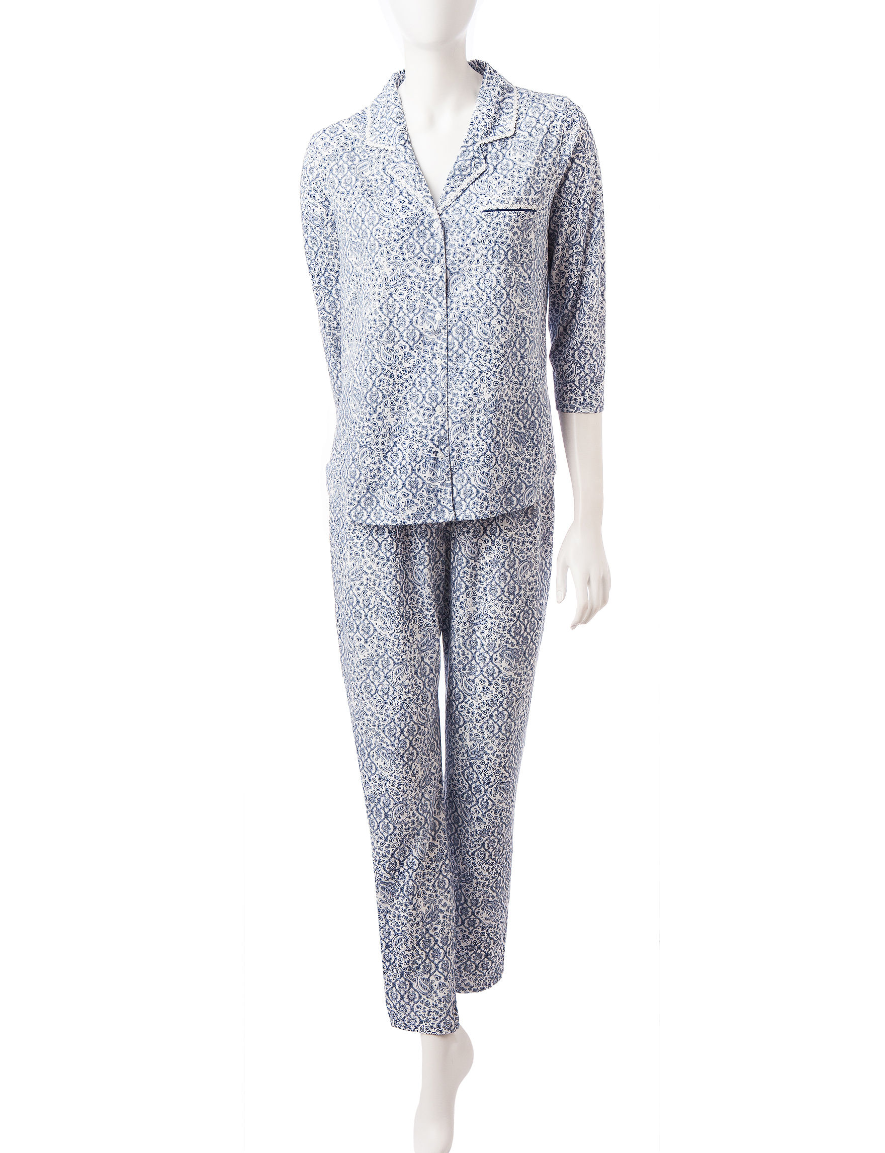 Aria White / Navy Pajama Sets